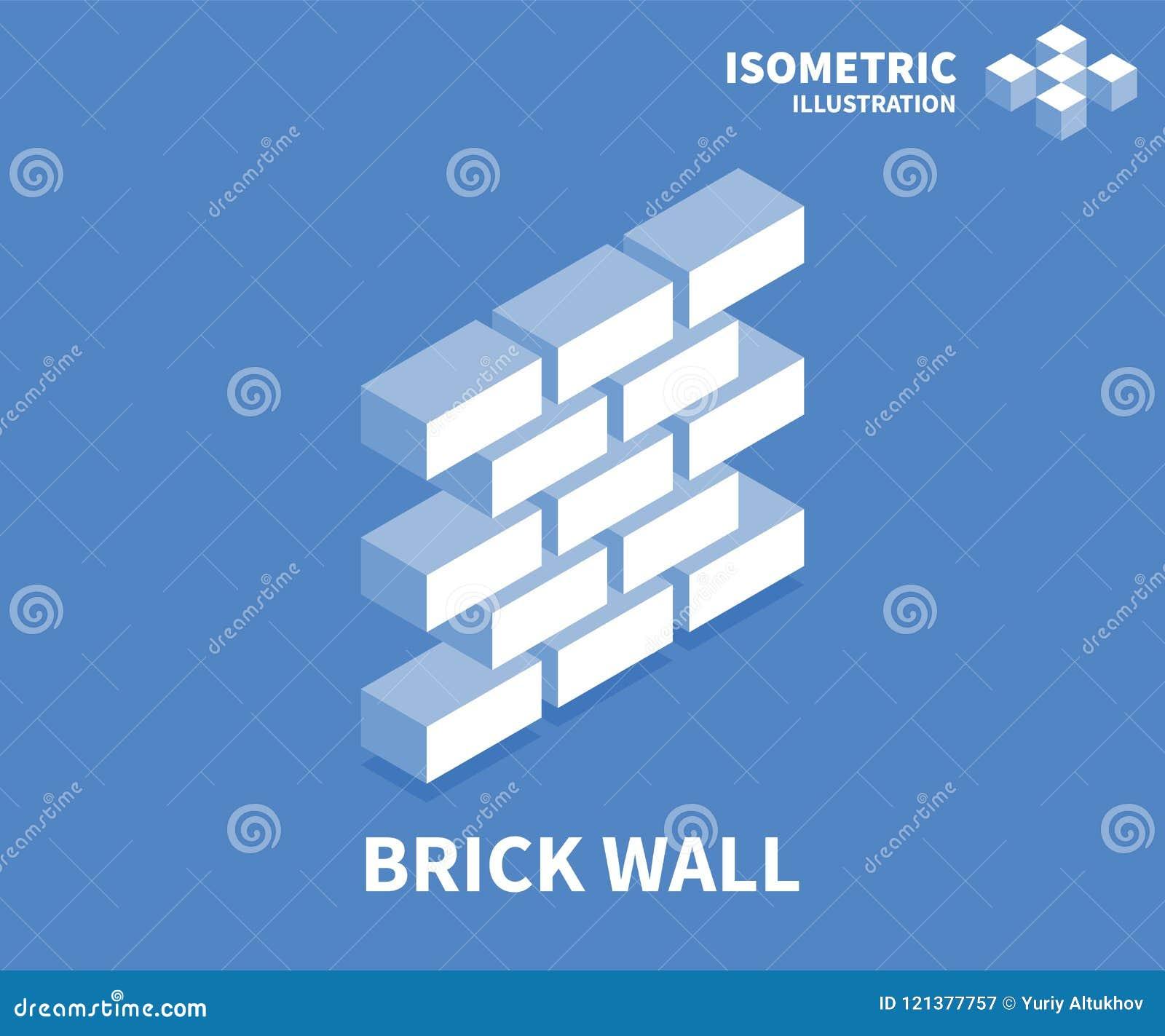 Icono de la pared de ladrillo Plantilla isométrica para el diseño web en el estilo plano 3D Ilustración del vector