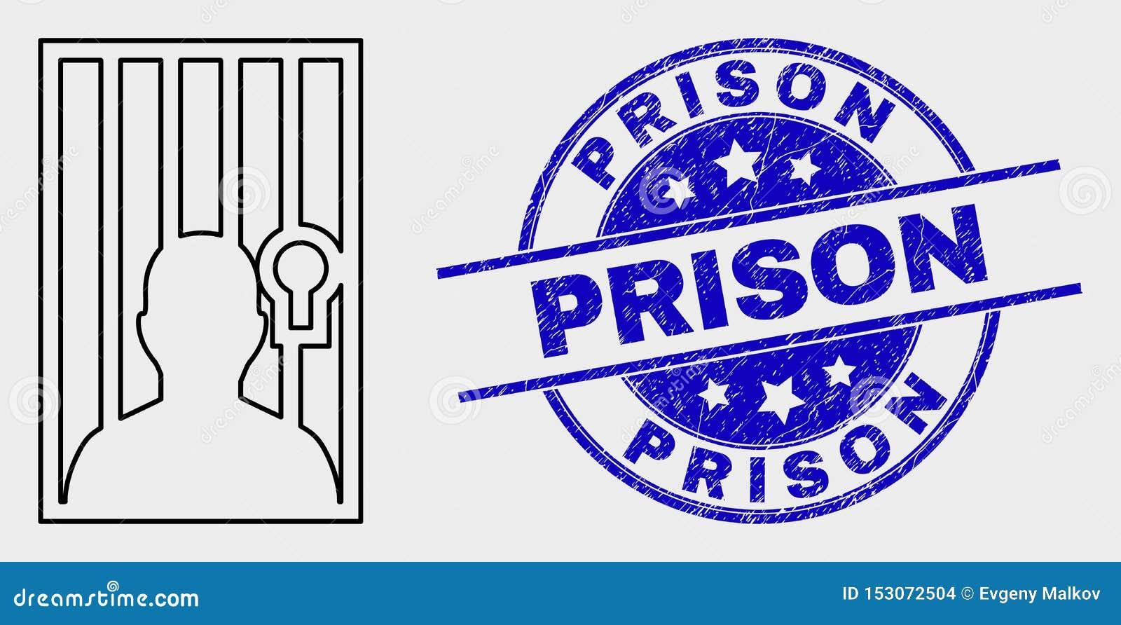 Icono de la persona del vector y sello encarcelados lineares de la prisión de la desolación