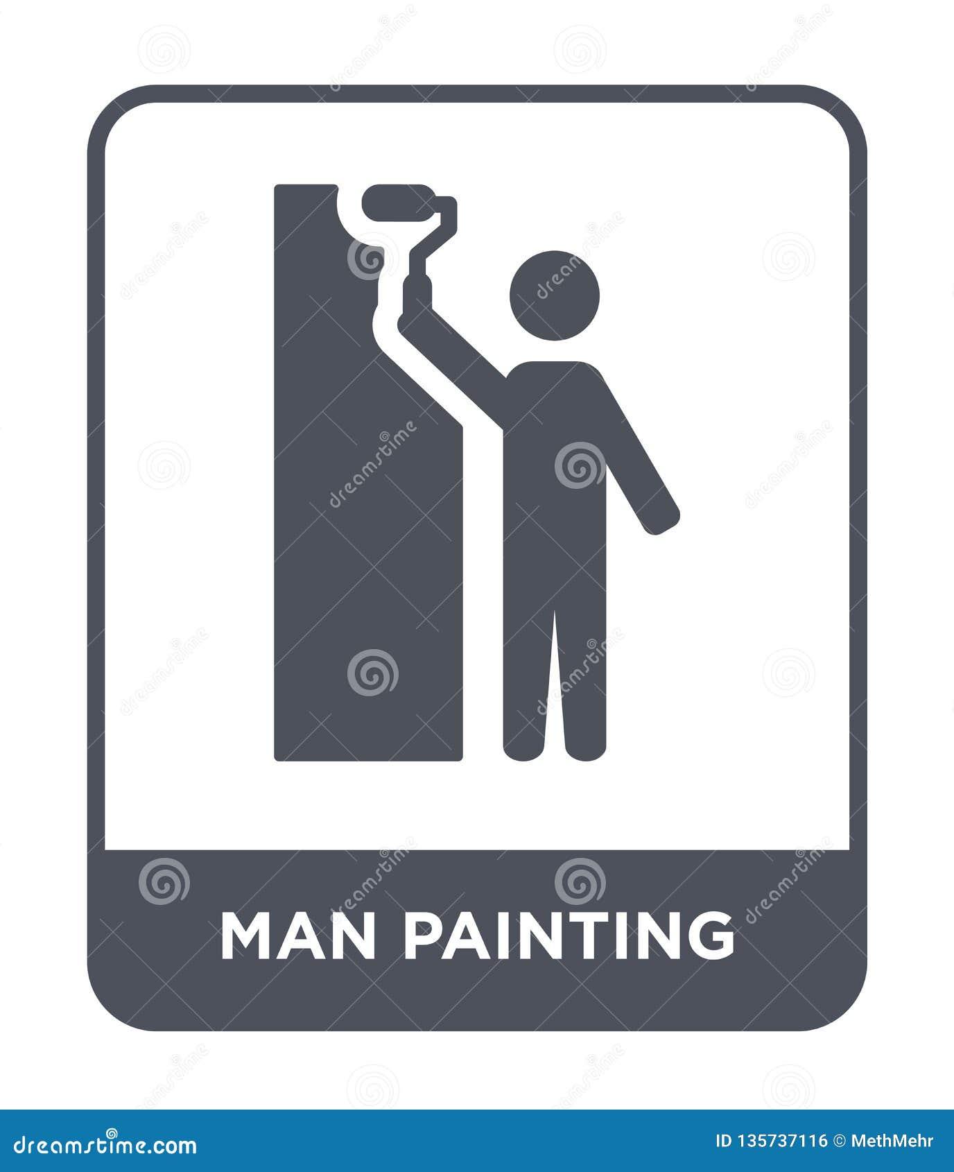 Icono de la pintura del hombre en estilo de moda del diseño icono de la pintura del hombre aislado en el fondo blanco icono del v