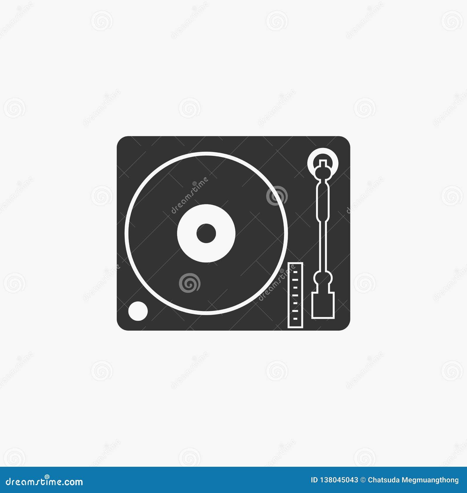 Icono de la placa giratoria del disk jockey, música