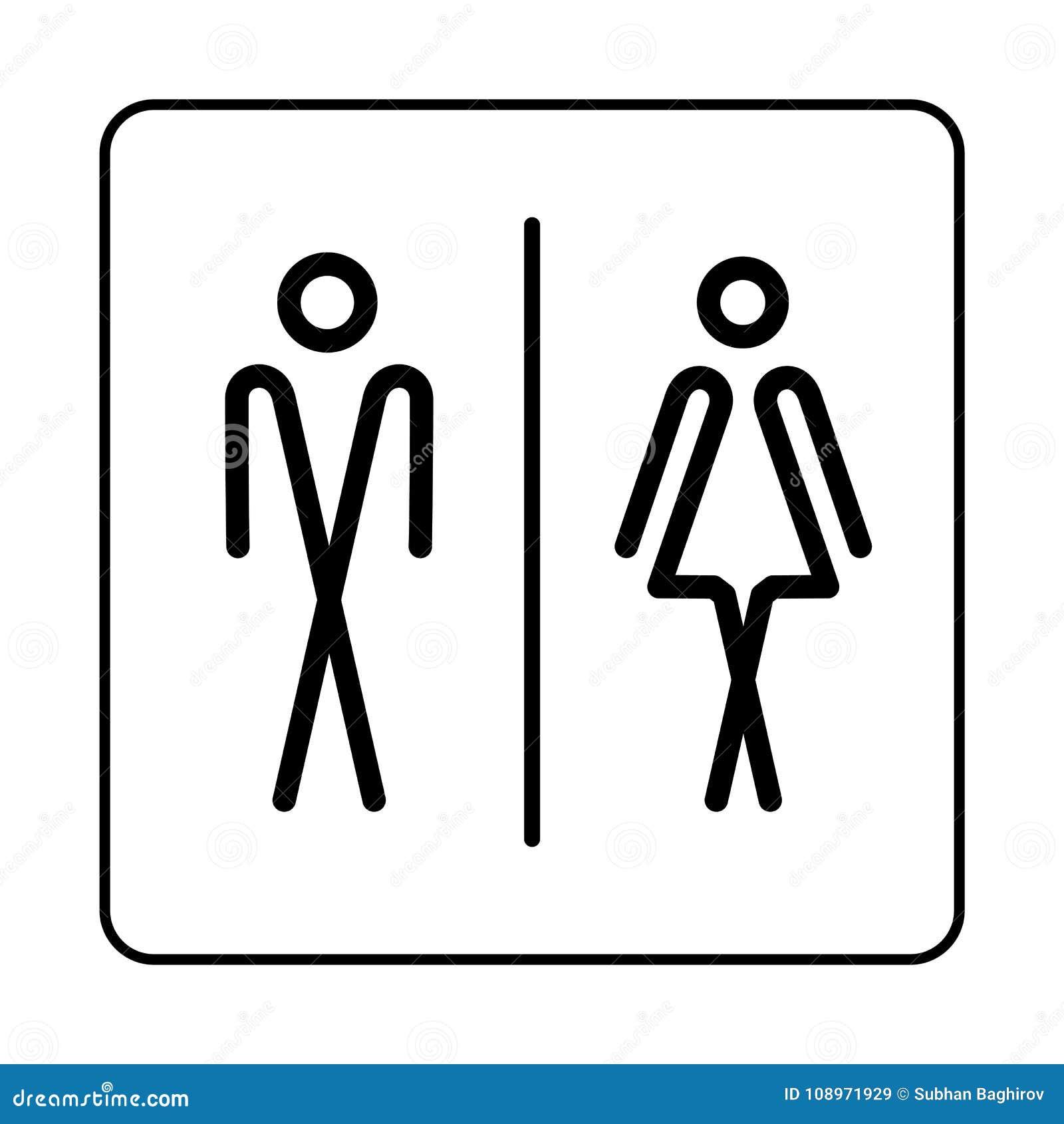 Icono de la placa de la puerta del retrete del WC Placa simple del cuarto de baño