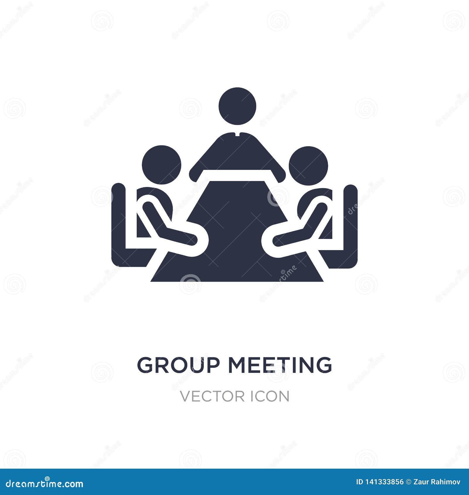 Icono de la reunión de grupo en el fondo blanco Ejemplo simple del elemento del concepto de la gente