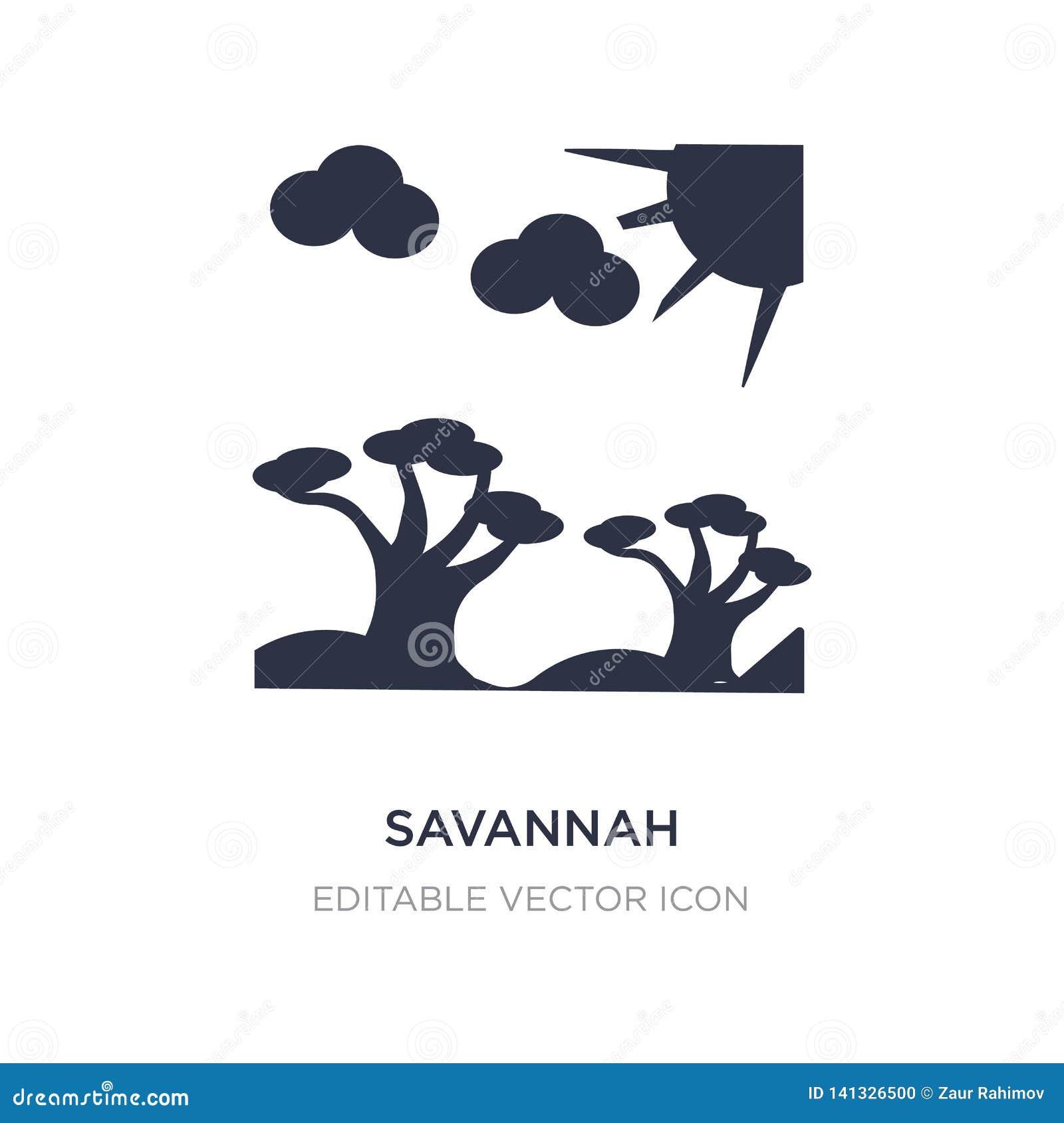 Icono de la sabana en el fondo blanco Ejemplo simple del elemento del concepto de la naturaleza