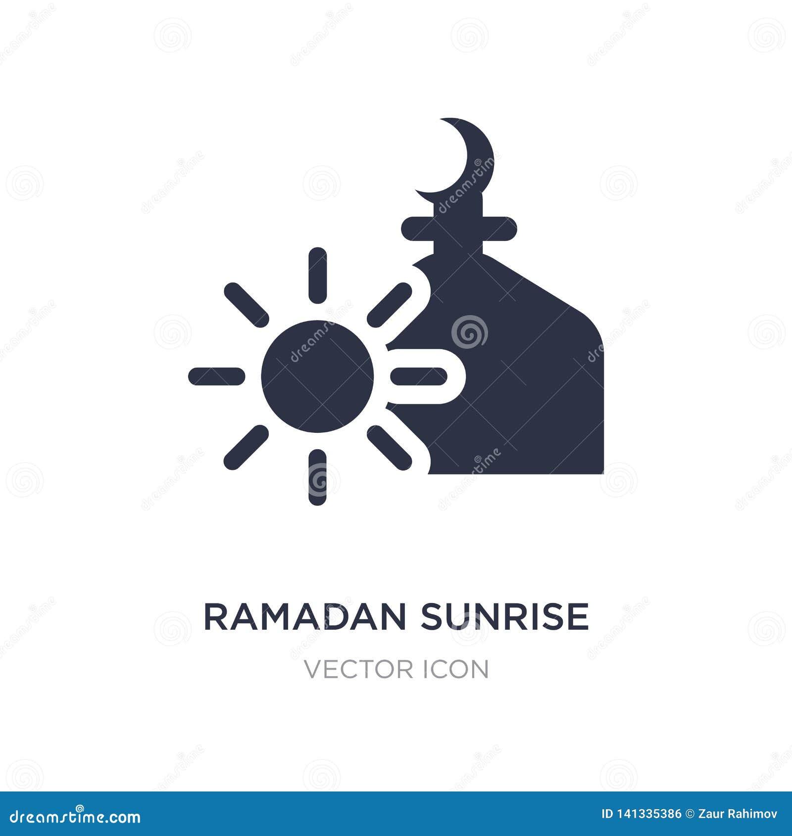 Icono de la salida del sol del Ramadán en el fondo blanco Ejemplo simple del elemento del concepto de la religión
