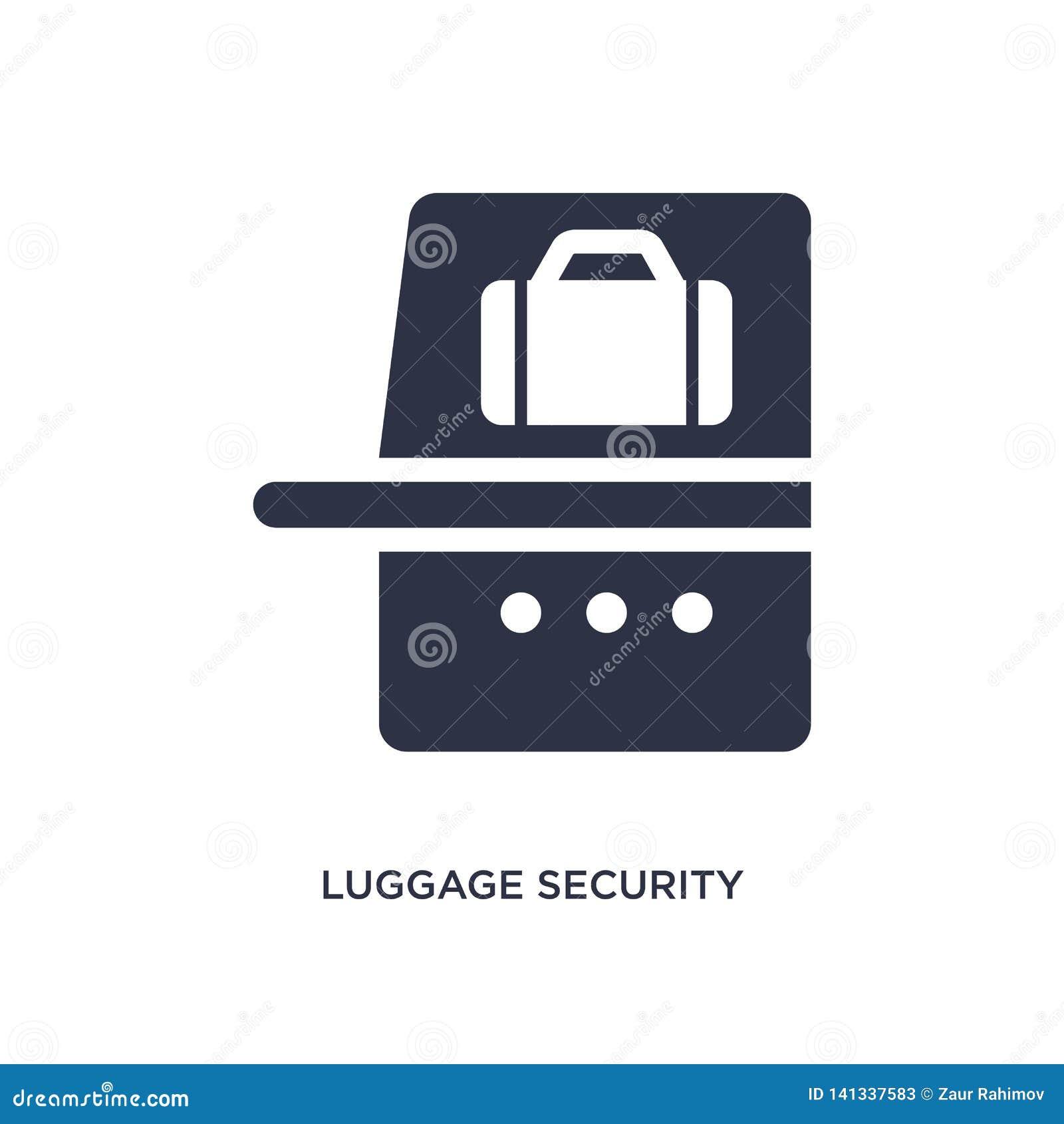 Icono de la seguridad del equipaje en el fondo blanco Ejemplo simple del elemento del concepto del terminal de aeropuerto