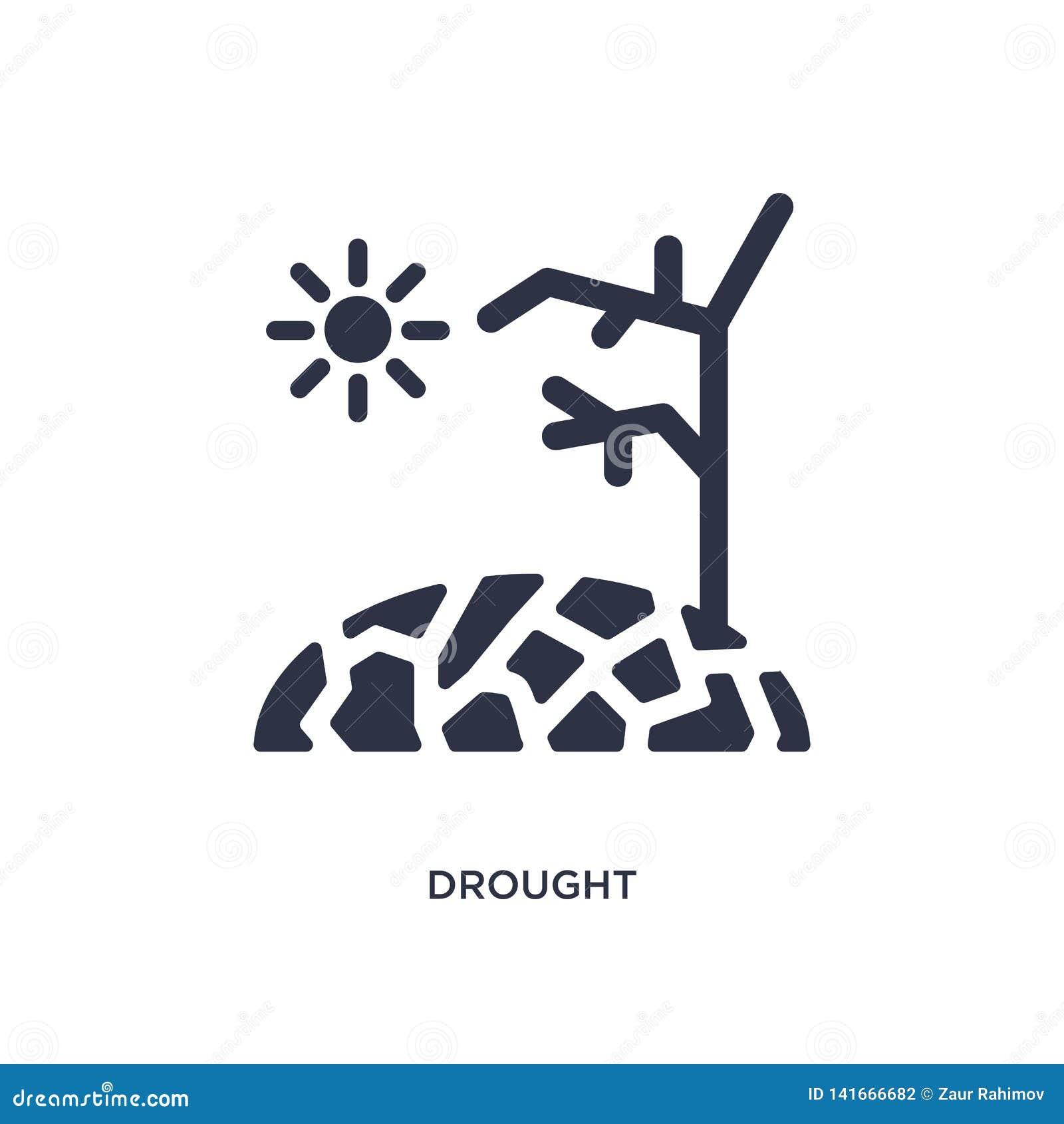 Icono de la sequía en el fondo blanco Ejemplo simple del elemento del concepto de la meteorología