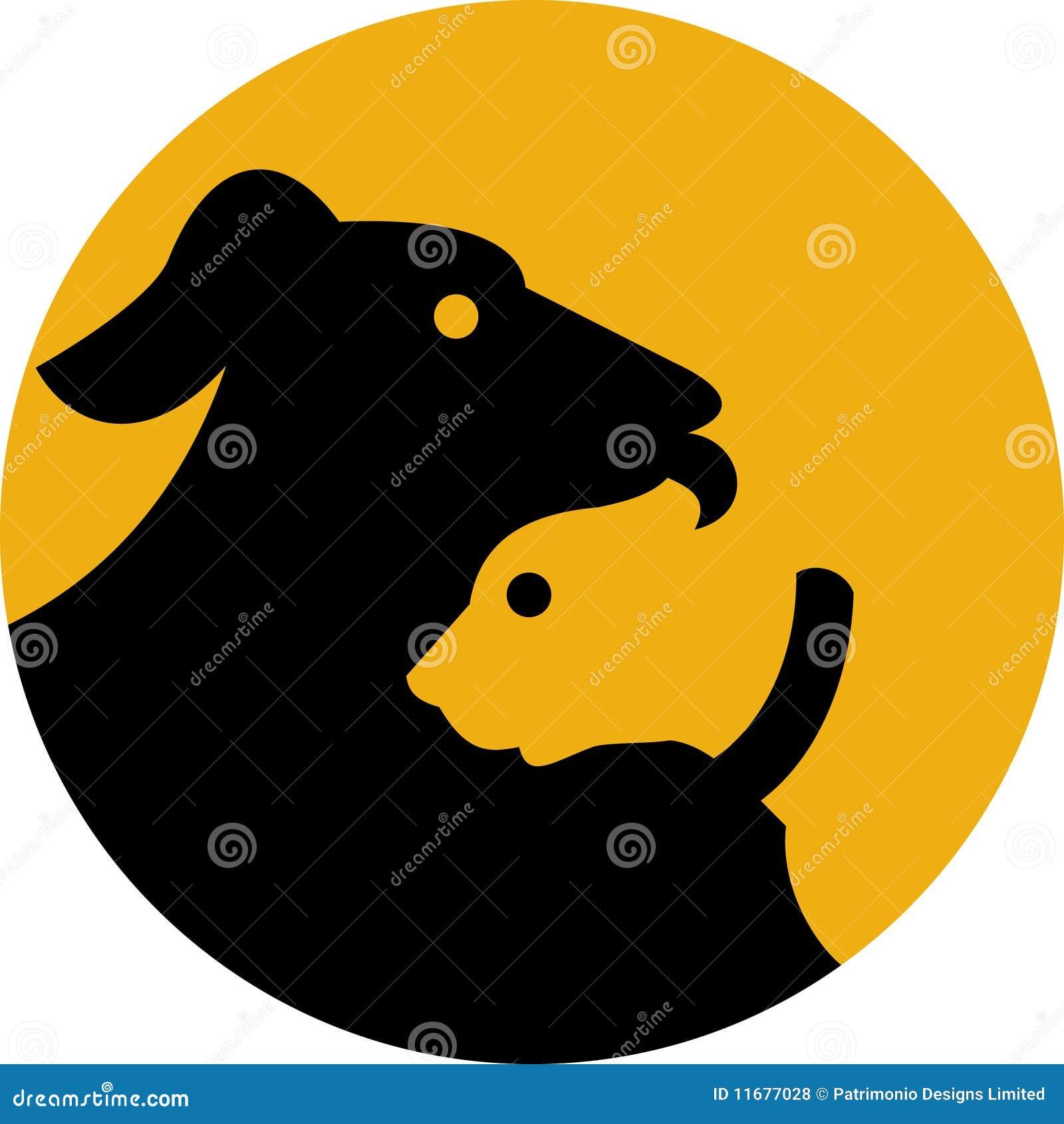 Icono de la silueta del perro y del gato de animal doméstico