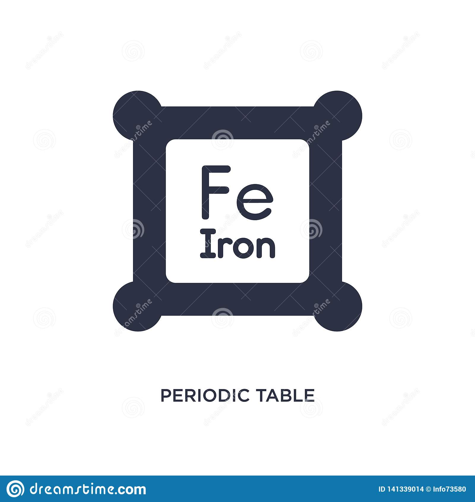 Icono de la tabla periódica en el fondo blanco Ejemplo simple del elemento del concepto de la educación 2