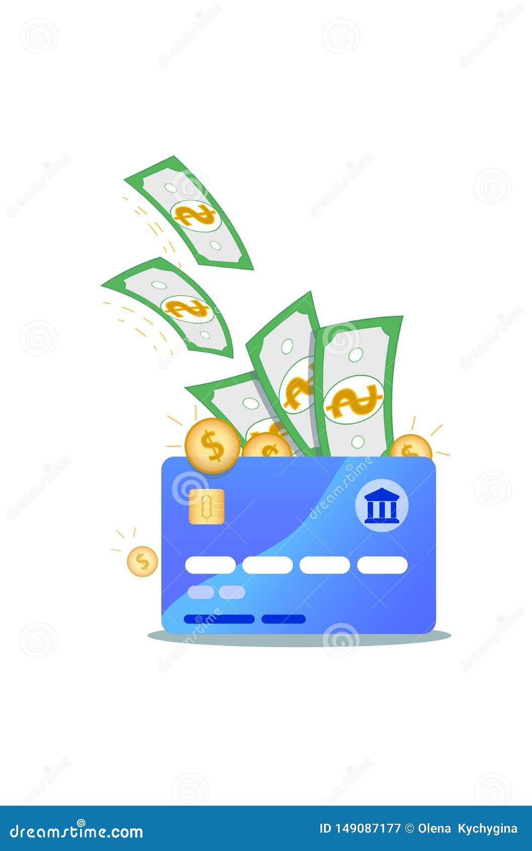 Icono de la tarjeta de crédito de Nfc con los billetes de banco del dólar y las monedas de oro aislados en el fondo blanco Concep