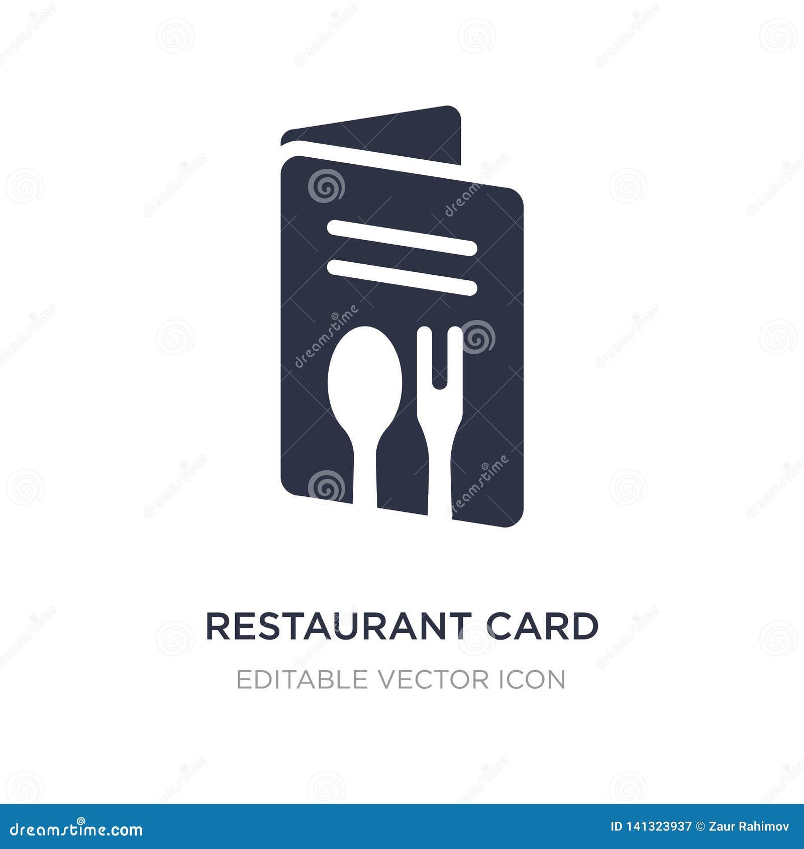 Icono de la tarjeta del restaurante en el fondo blanco Ejemplo simple del elemento del concepto del comercio