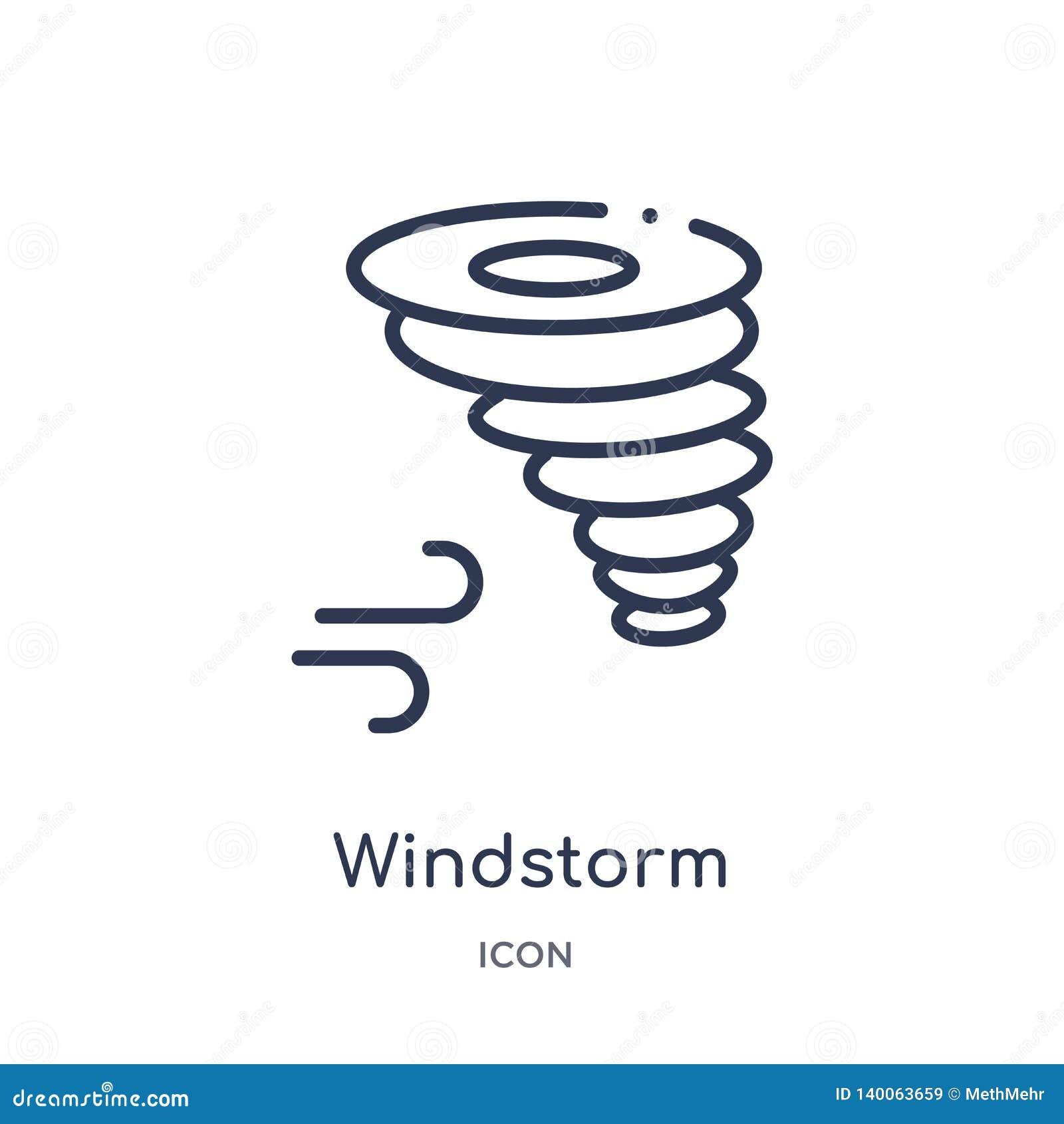 Icono de la tormenta de viento de la colección del esquema de la naturaleza Línea fina icono de la tormenta de viento aislado en