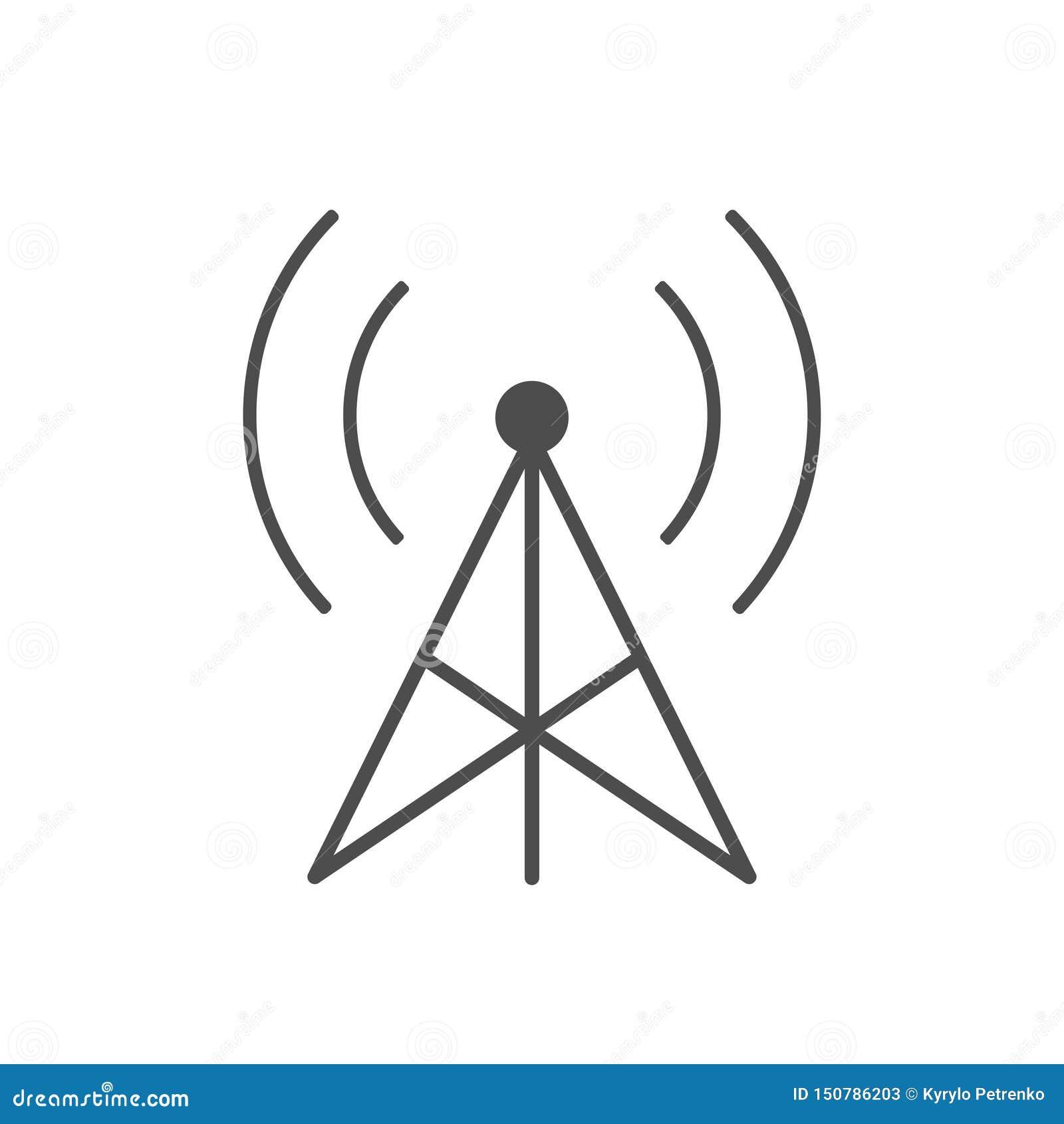 Icono de la torre de la transmisión de radio en el fondo blanco