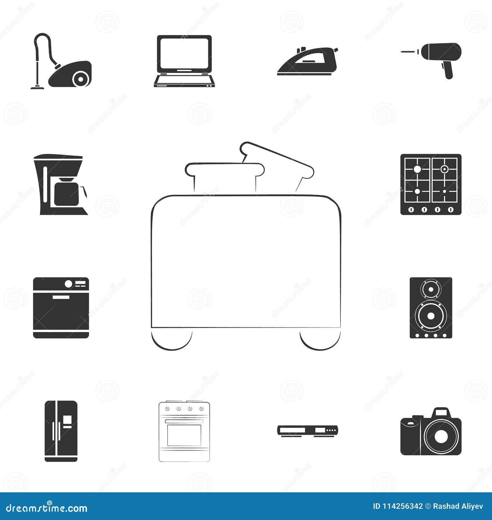 Icono de la tostadora del logotipo Sistema detallado de iconos de los artículos del hogar Diseño gráfico de la calidad superior U
