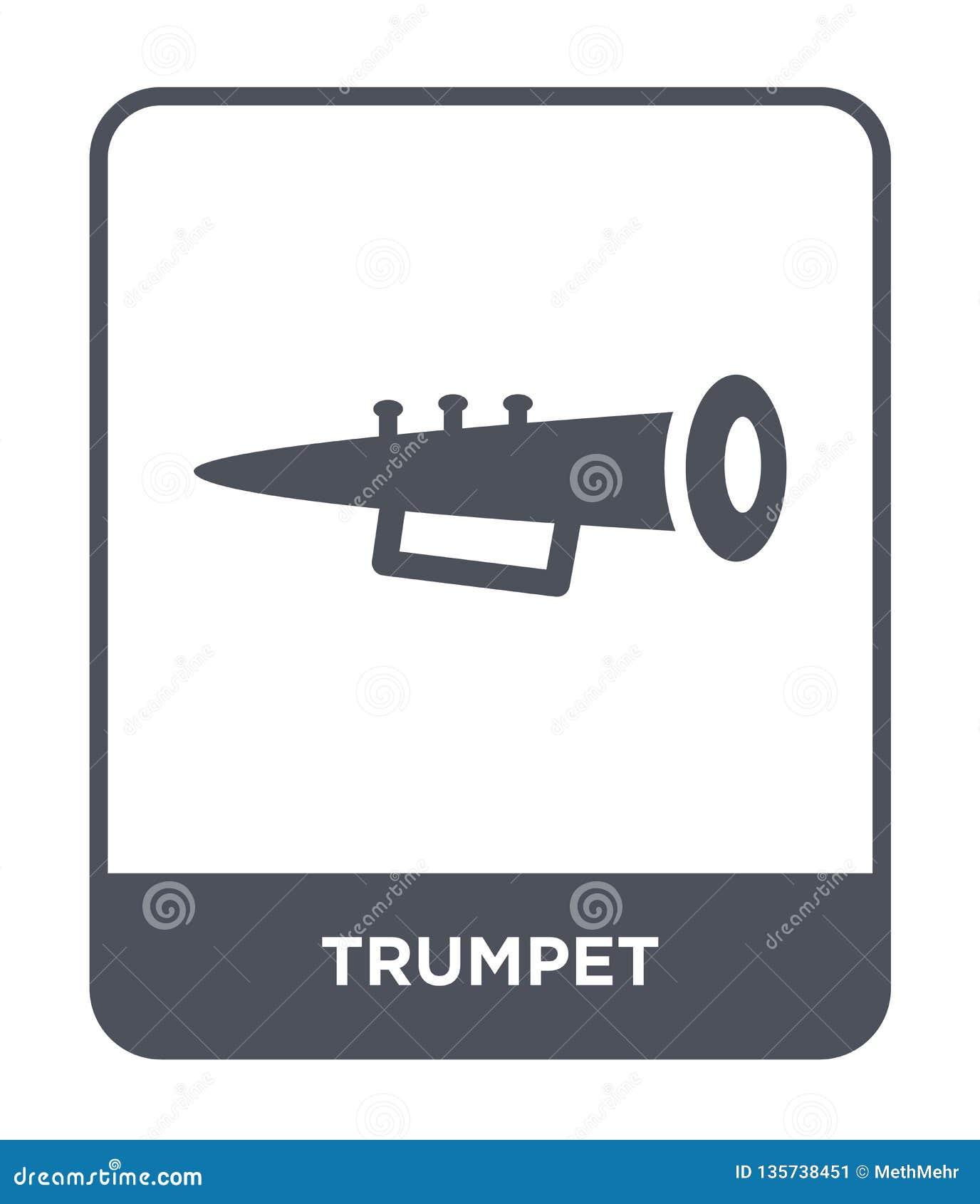Icono de la trompeta en estilo de moda del diseño Icono de la trompeta aislado en el fondo blanco símbolo plano simple y moderno