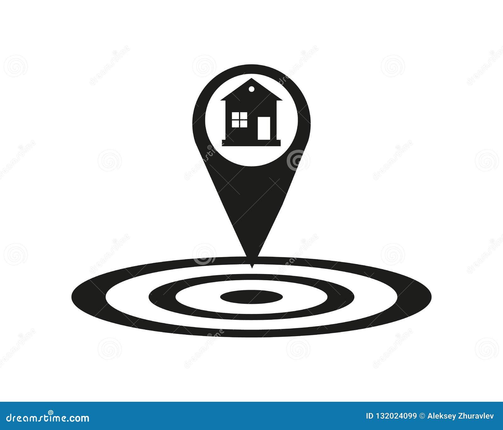 Icono de la ubicación de la casa Símbolo de la silueta del indicador del mapa de la sombra del descenso Punta de las propiedades
