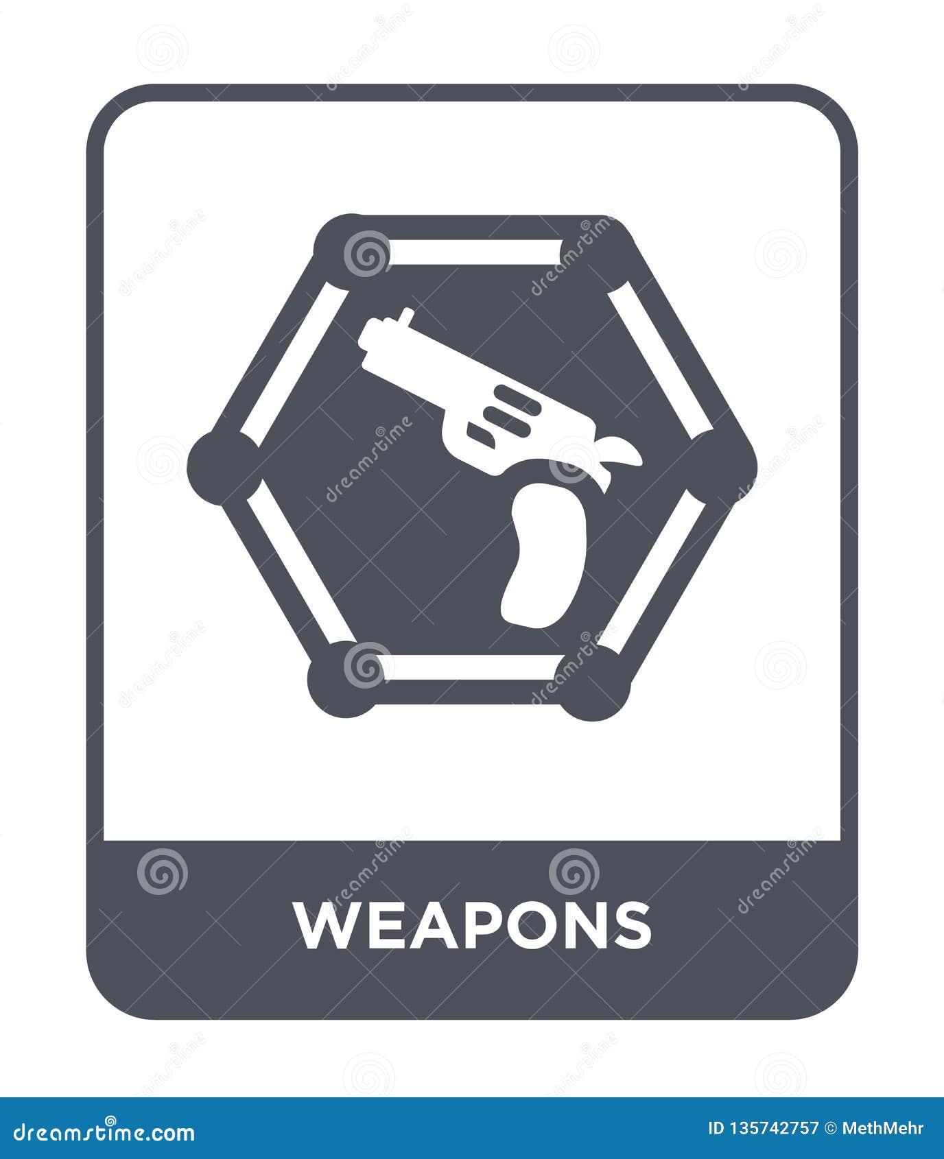 Icono de las armas en estilo de moda del diseño Icono de las armas aislado en el fondo blanco símbolo plano simple y moderno del