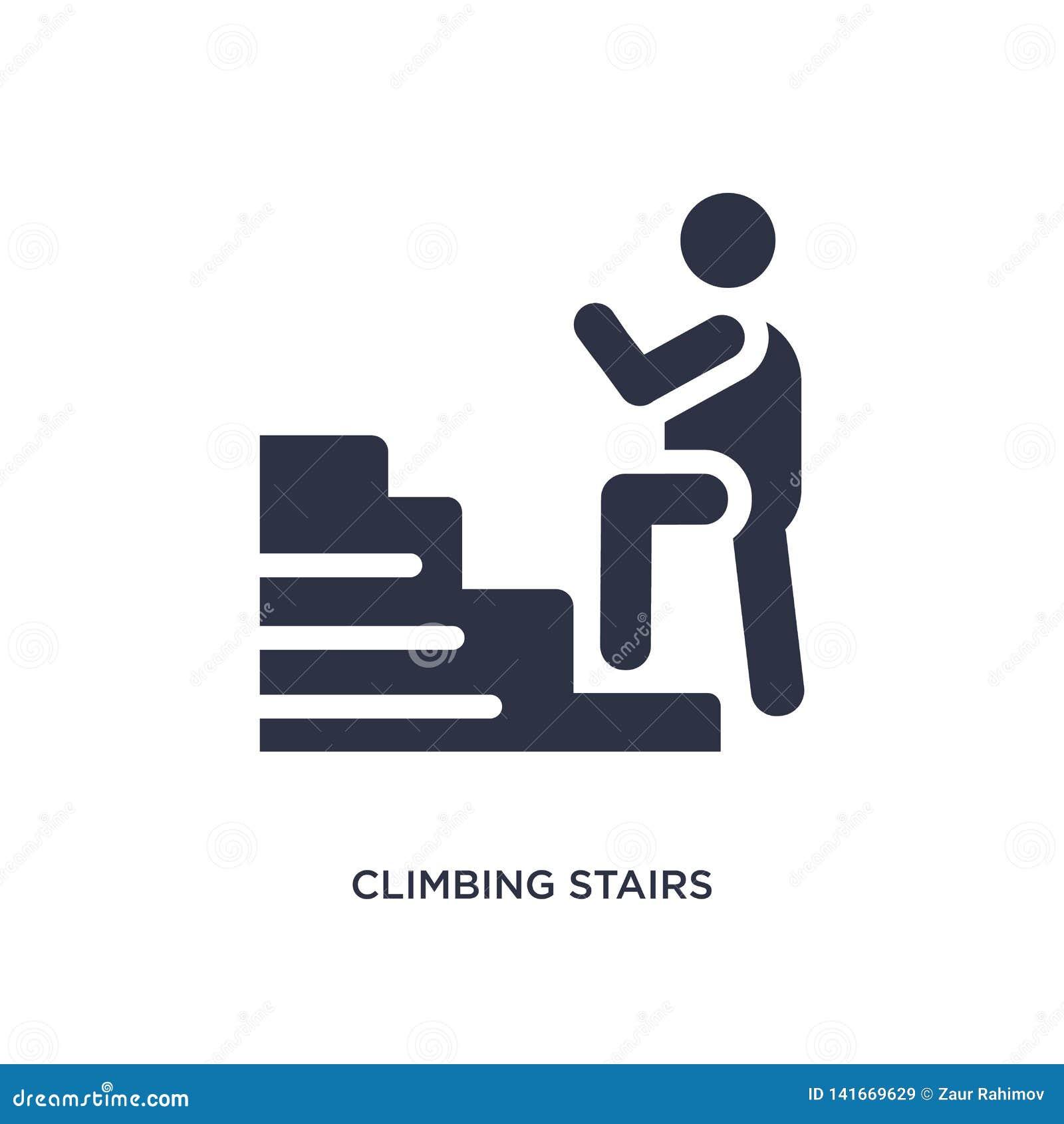 Icono de las escaleras que sube en el fondo blanco Ejemplo simple del elemento del concepto del comportamiento