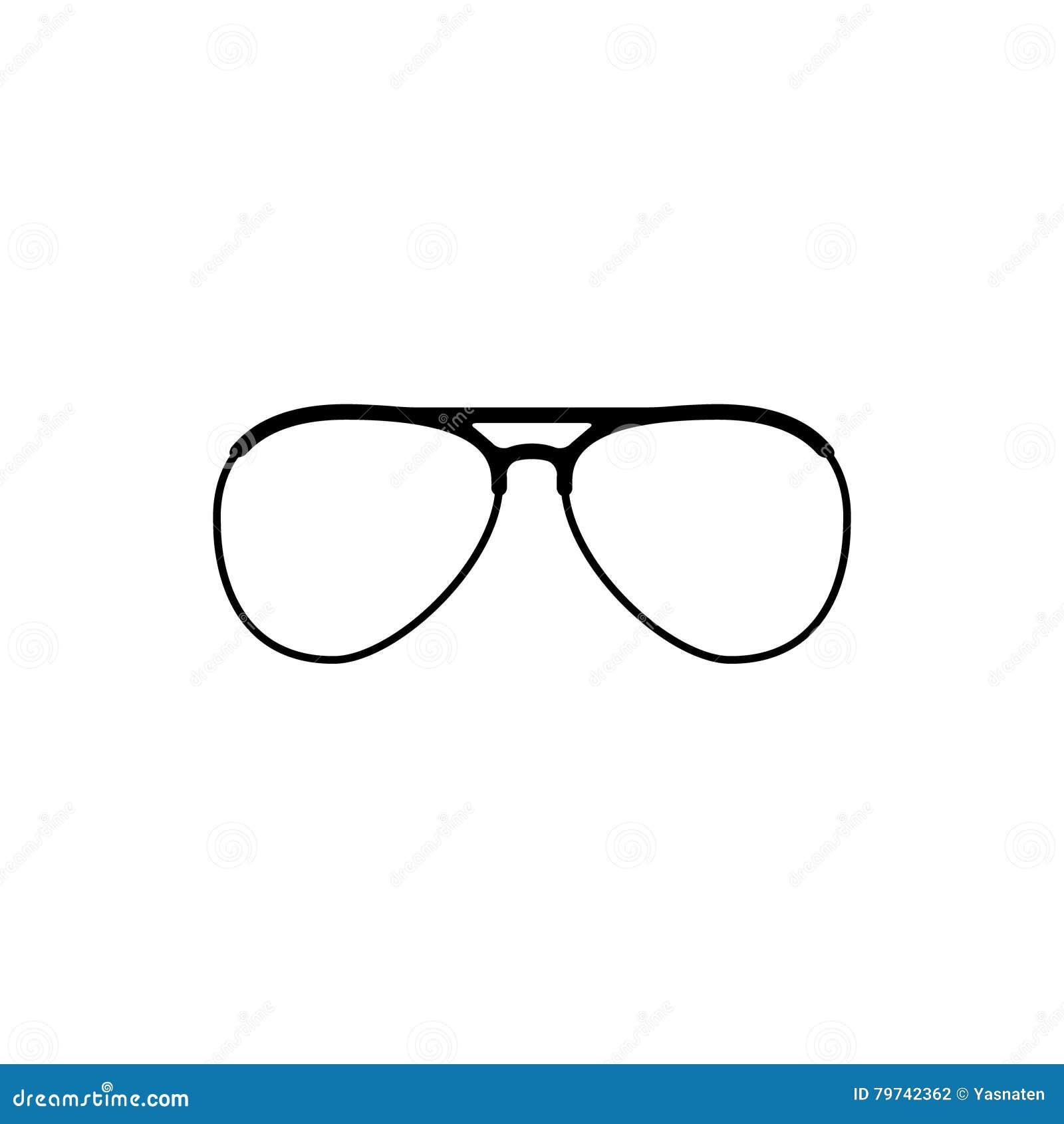 Icono de las gafas de sol tipo aviador del vector