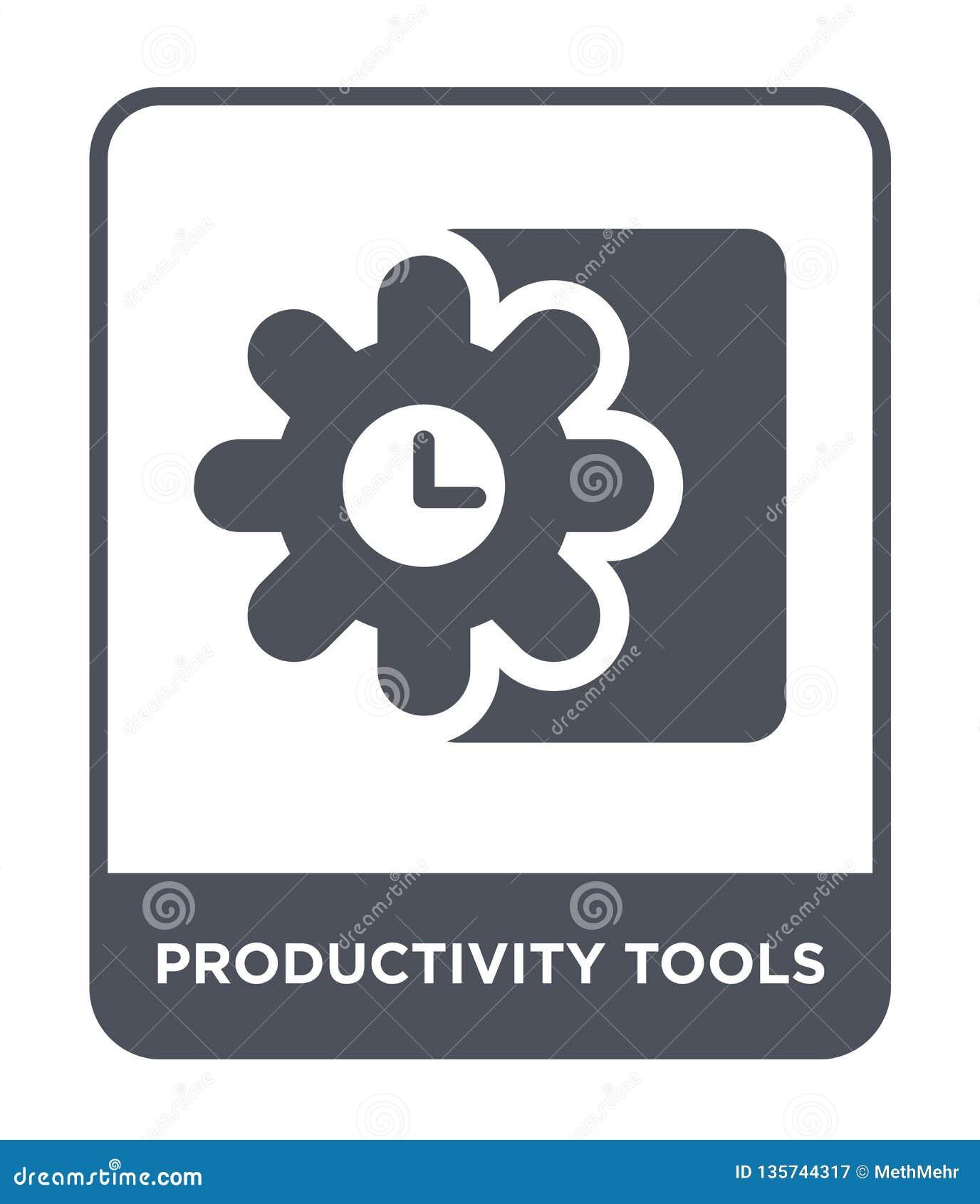 Icono de las herramientas de la productividad en estilo de moda del diseño icono de las herramientas de la productividad aislado