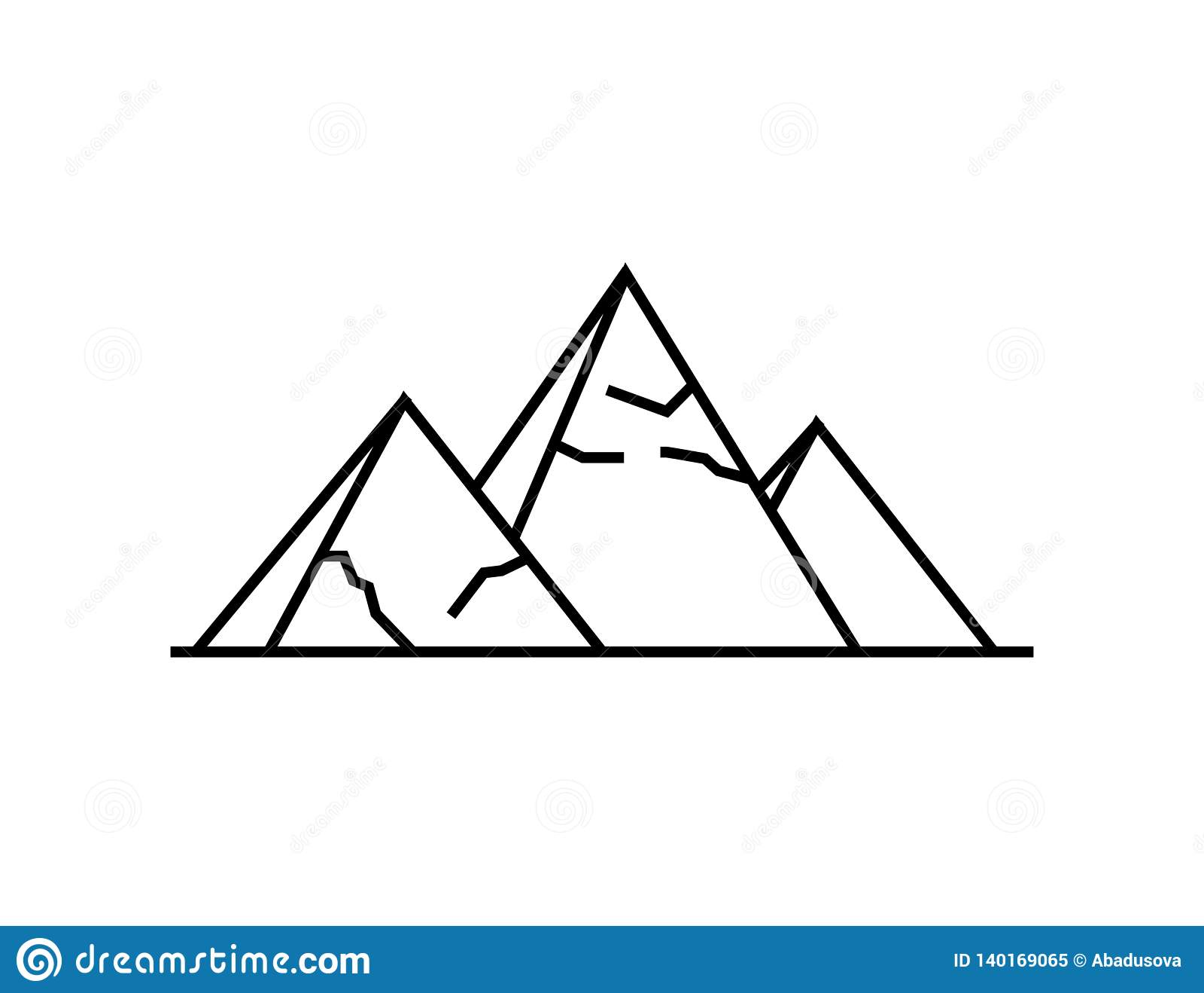 Icono de las pirámides Ejemplo simple del icono del vector de las pirámides para la web