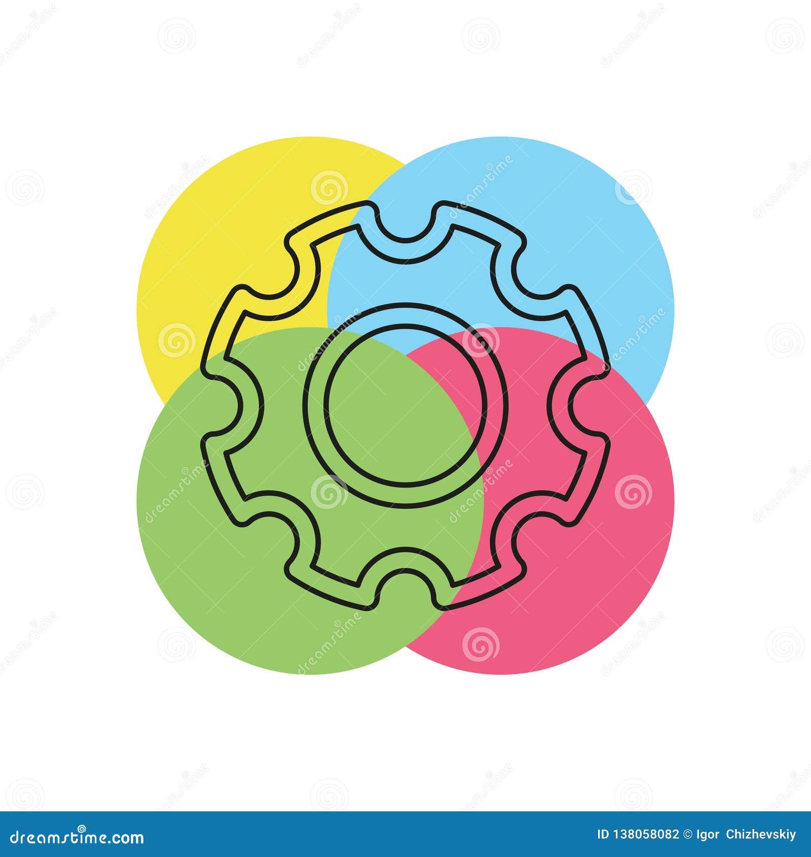 Icono de los ajustes de los engranajes - mecanismo de engranaje de la rueda dentada