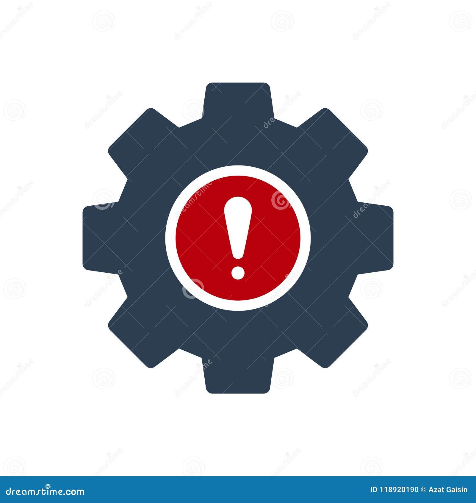 Icono de los ajustes icono, de las herramientas y de los utensilios con la marca de exclamación Icono y alarma, error, alarma, sí