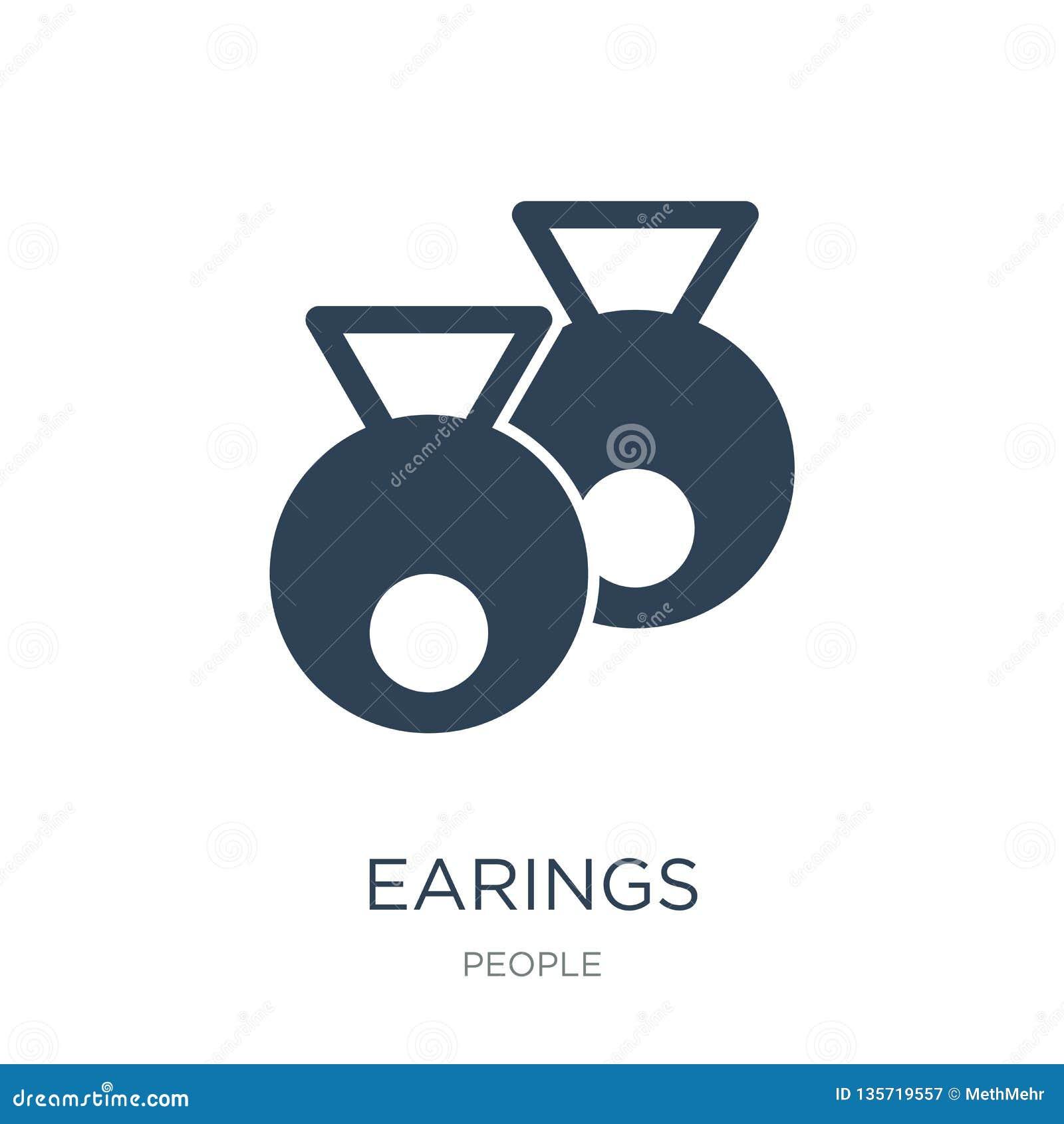 Icono de los earings en estilo de moda del diseño icono de los earings aislado en el fondo blanco símbolo plano simple y moderno