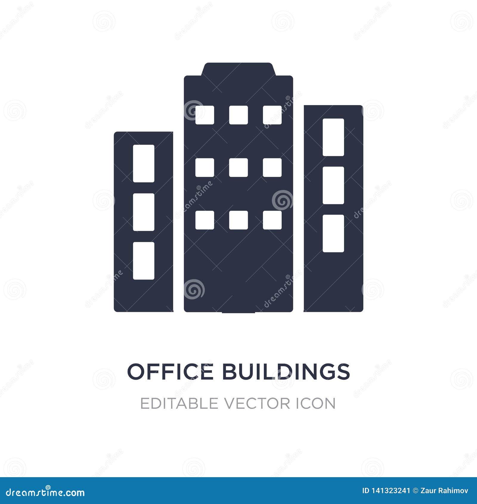 Icono de los edificios de oficinas en el fondo blanco Ejemplo simple del elemento del concepto de los edificios