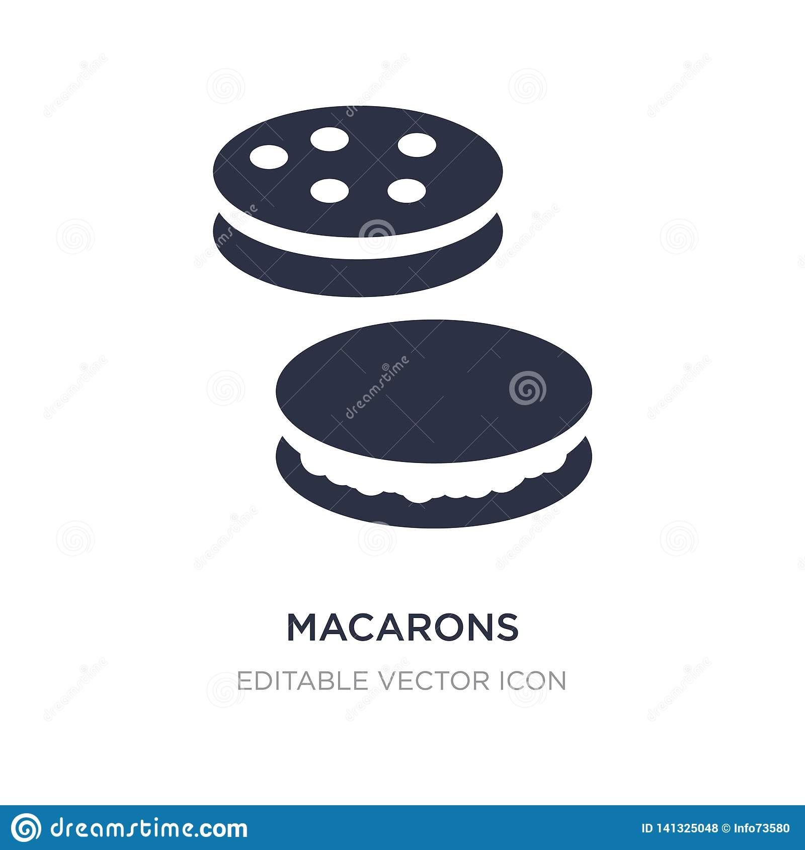 Icono de los macarons en el fondo blanco Ejemplo simple del elemento del concepto de la comida