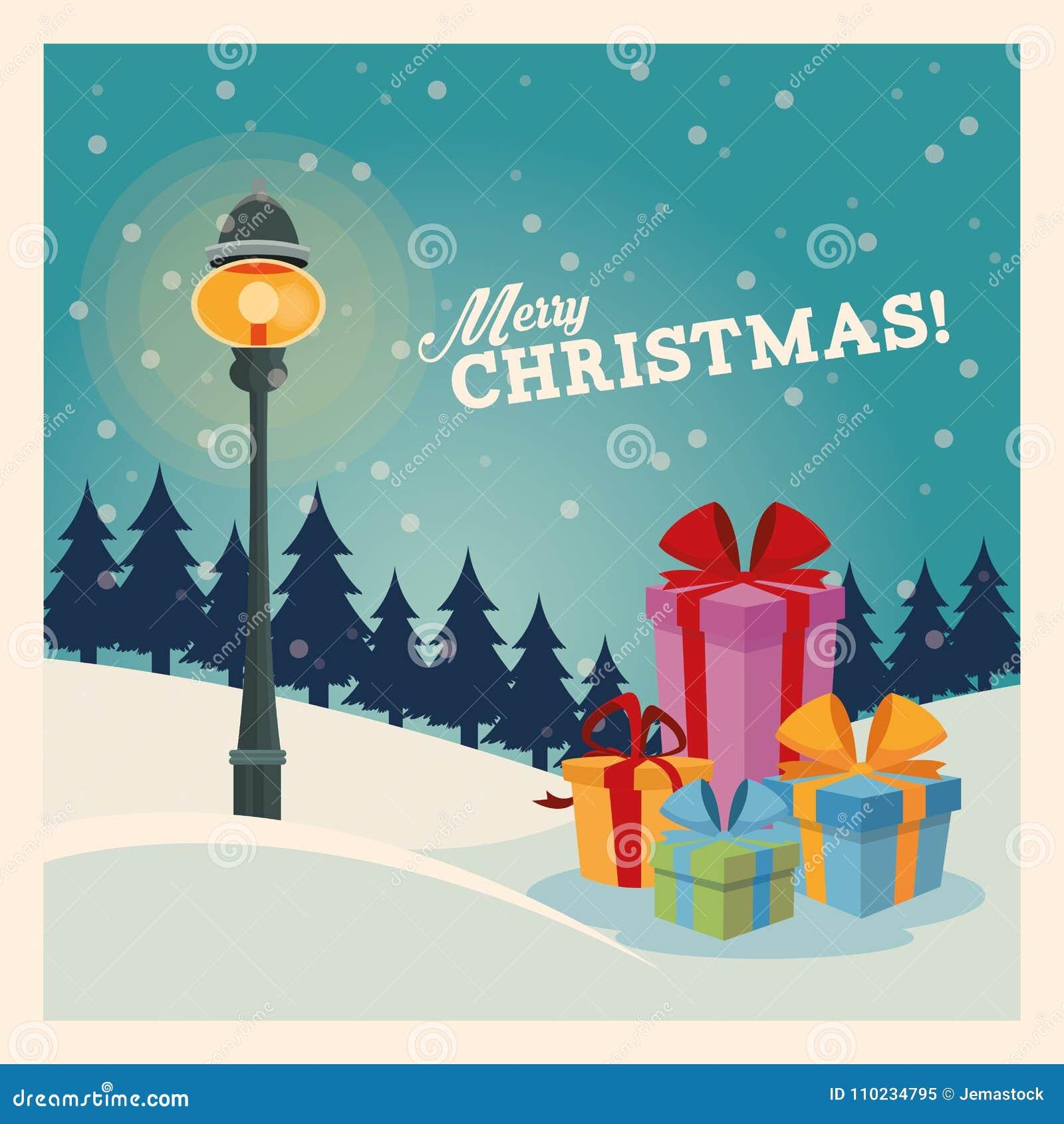 Icono de los regalos Diseño de la Feliz Navidad Gráfico de vector
