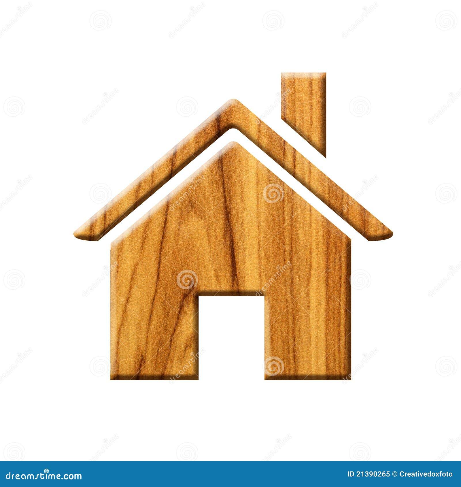 Icono de madera de la casa foto de archivo libre de - La casa de la madera ...