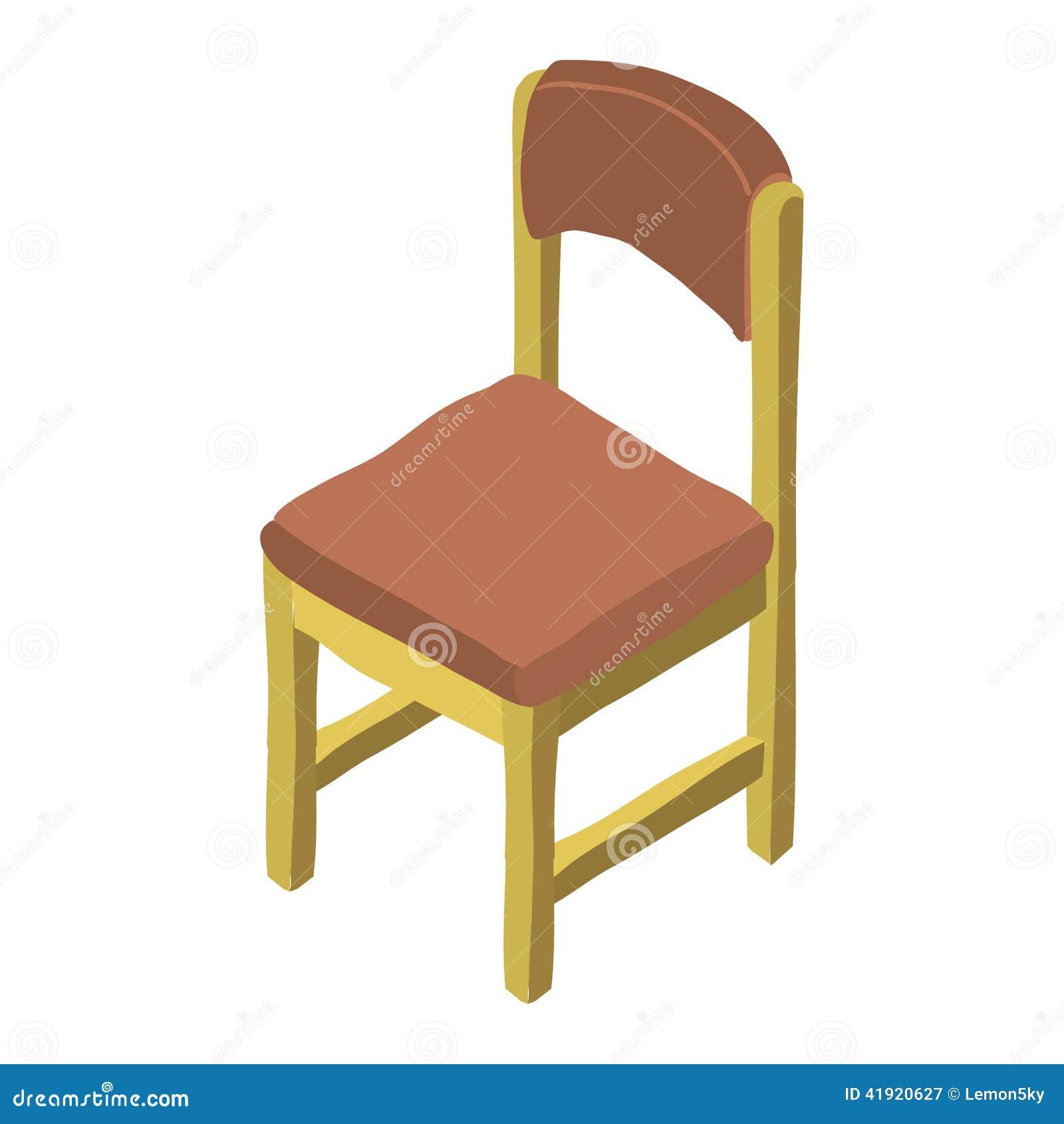 Icono de madera isométrico de la silla de la historieta del vector