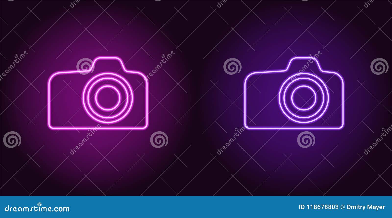 Icono de neón de la púrpura y de Violet Photo Camera