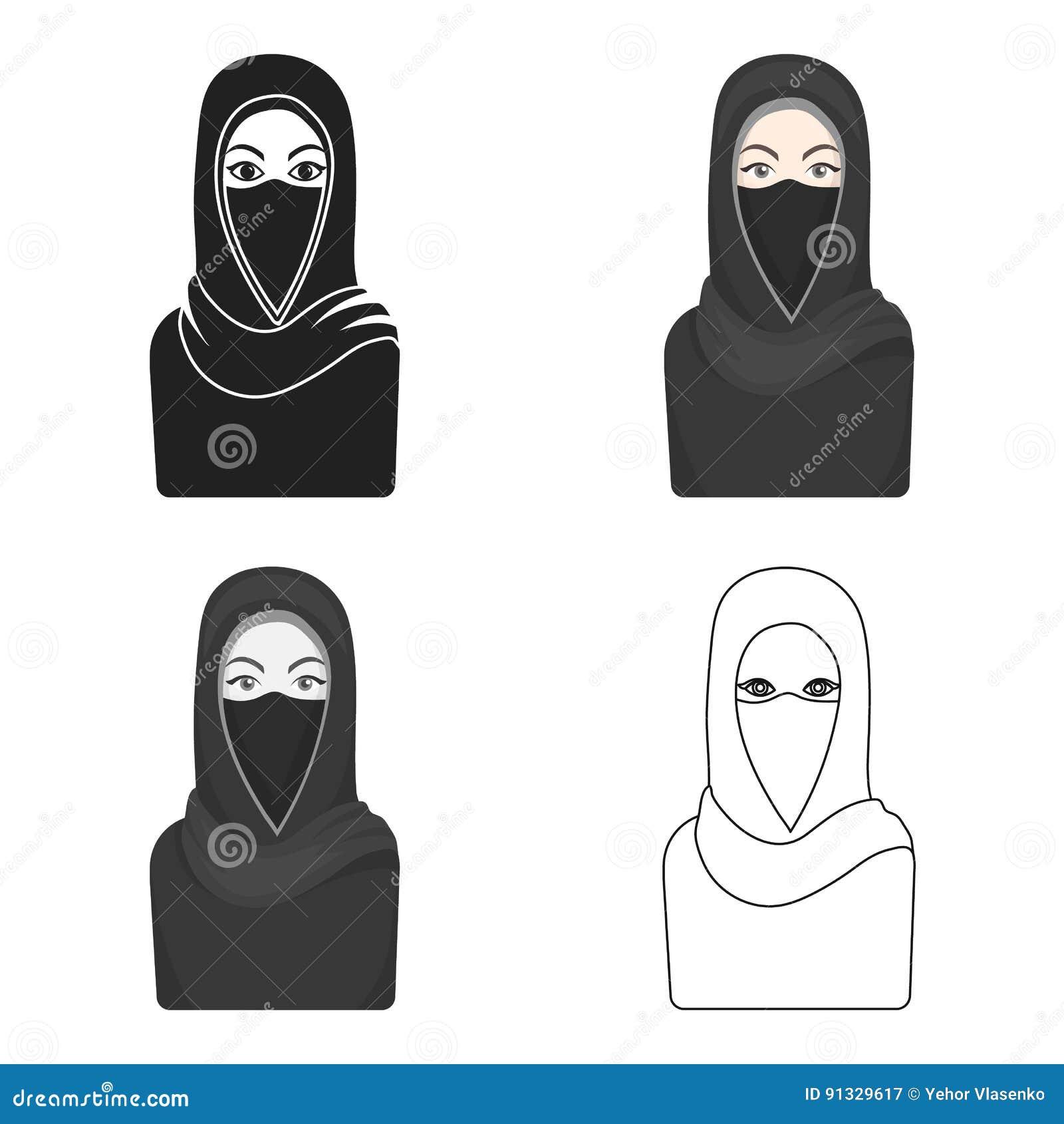 Icono de Niqab en estilo de la historieta en el fondo blanco Ejemplo del vector de la acción del símbolo de la religión