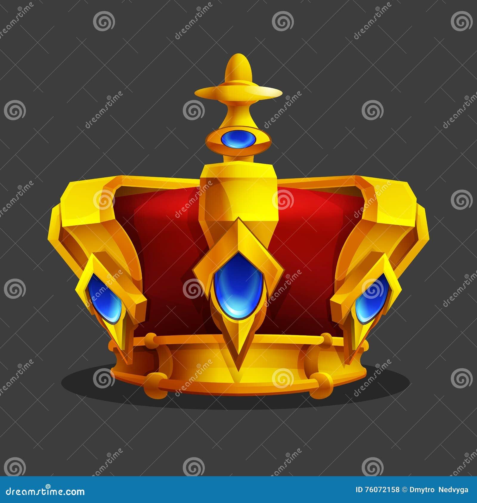 Icono de oro de la corona de la historieta Activo del trofeo del juego