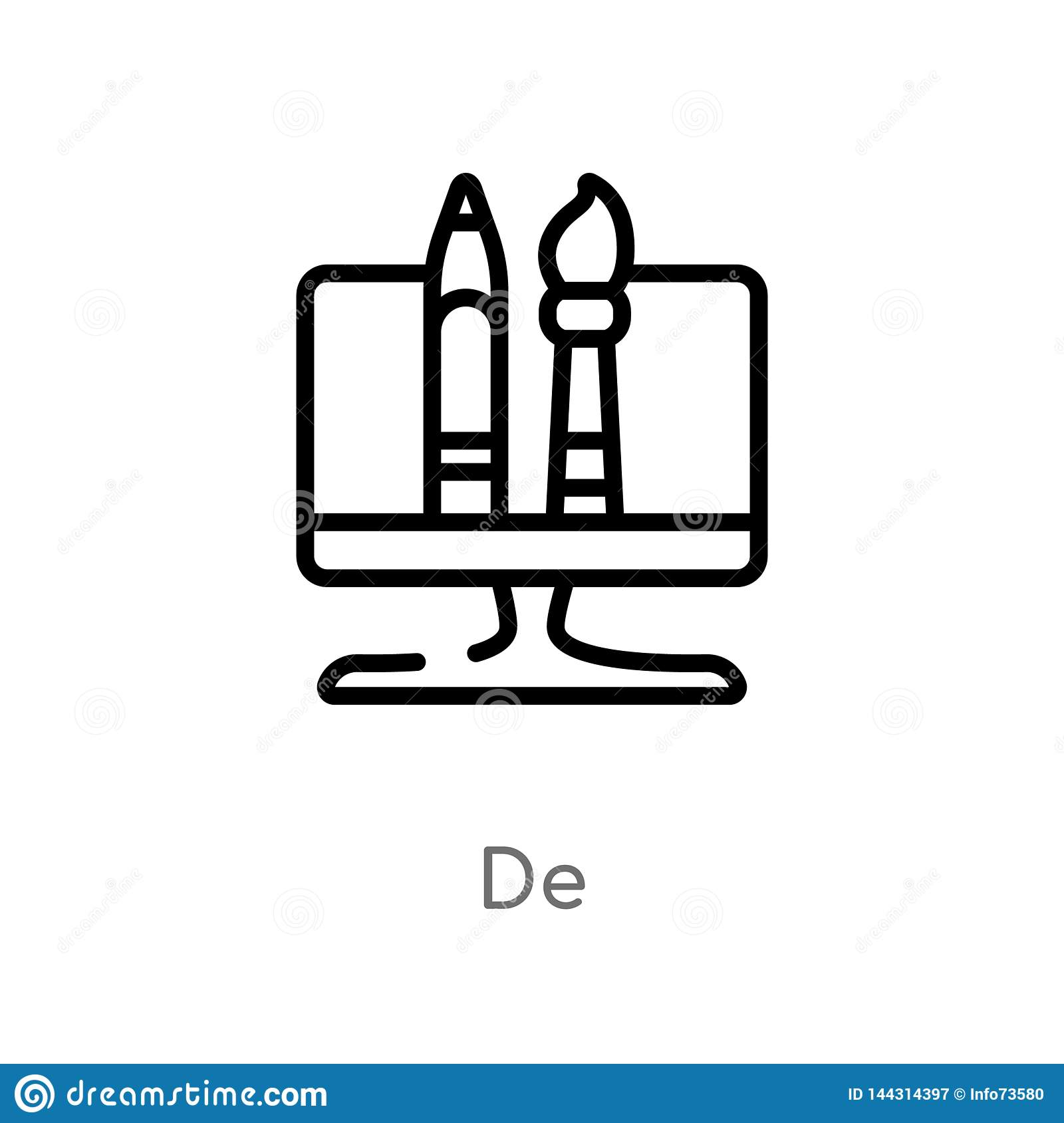 Icono de outline de vector l?nea simple negra aislada ejemplo del elemento del concepto de la optimizaci?n del Search Engine Vect