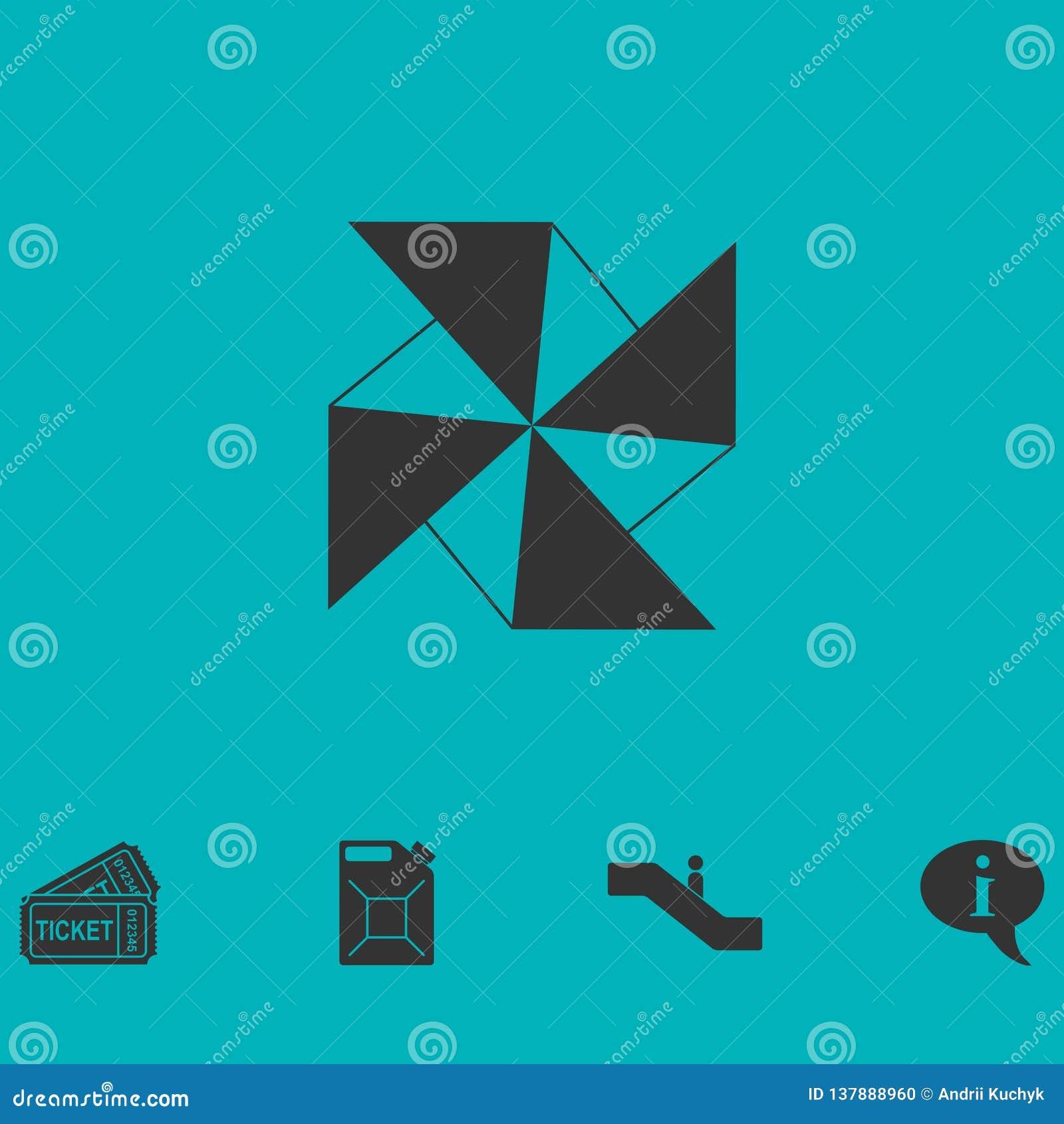 Icono de papel del molino de viento completamente