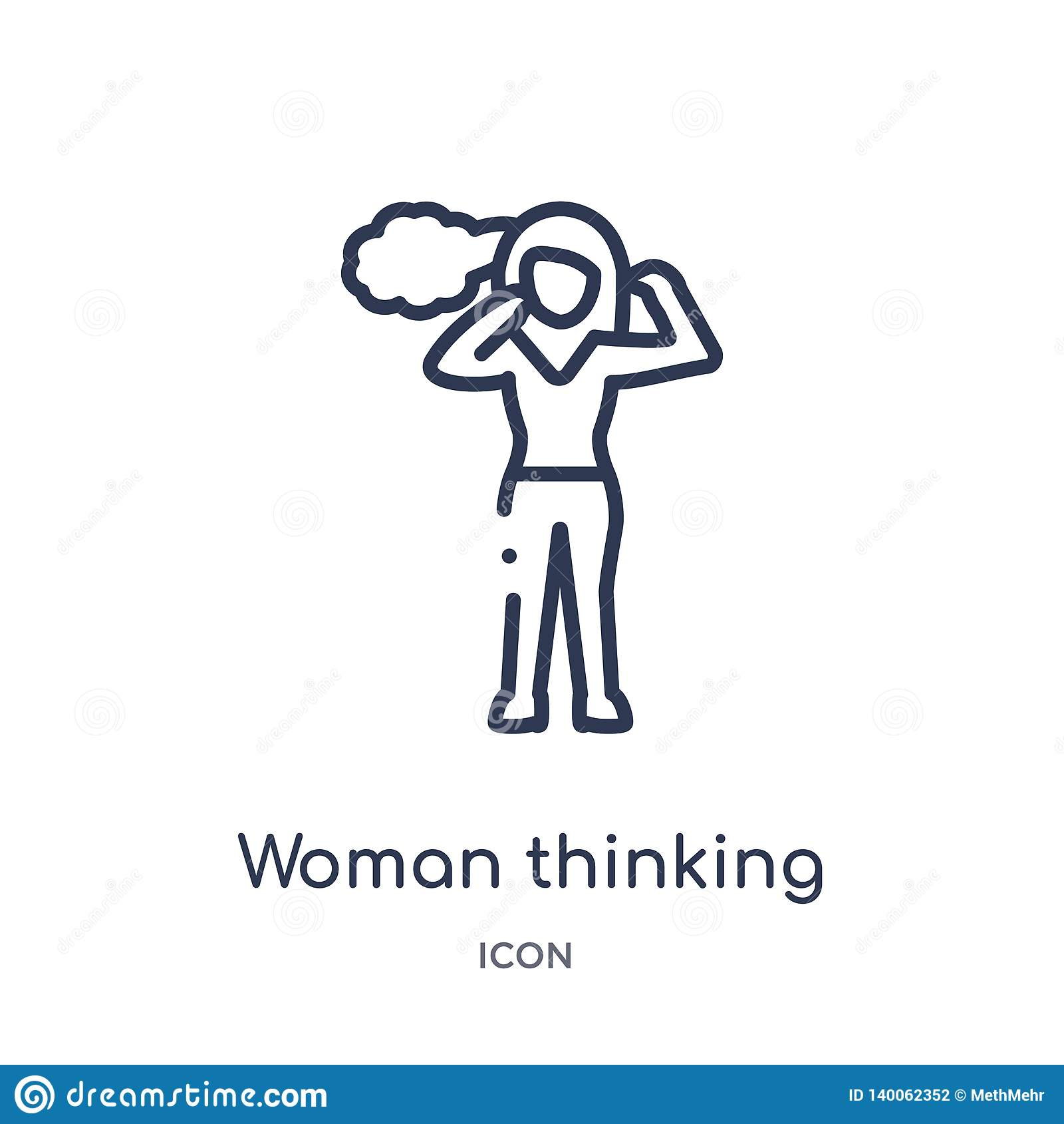 Icono de pensamiento de la mujer linear de la colección del esquema de las señoras Línea fina icono de pensamiento de la mujer ai