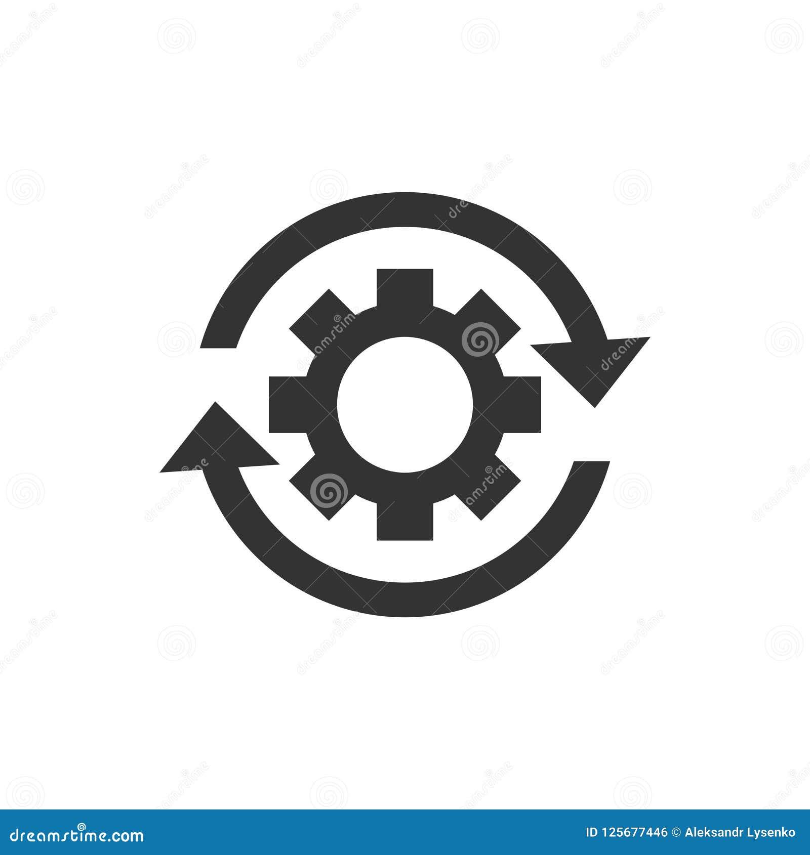Icono de proceso del flujo de trabajo en estilo plano Rueda del diente del engranaje con las flechas