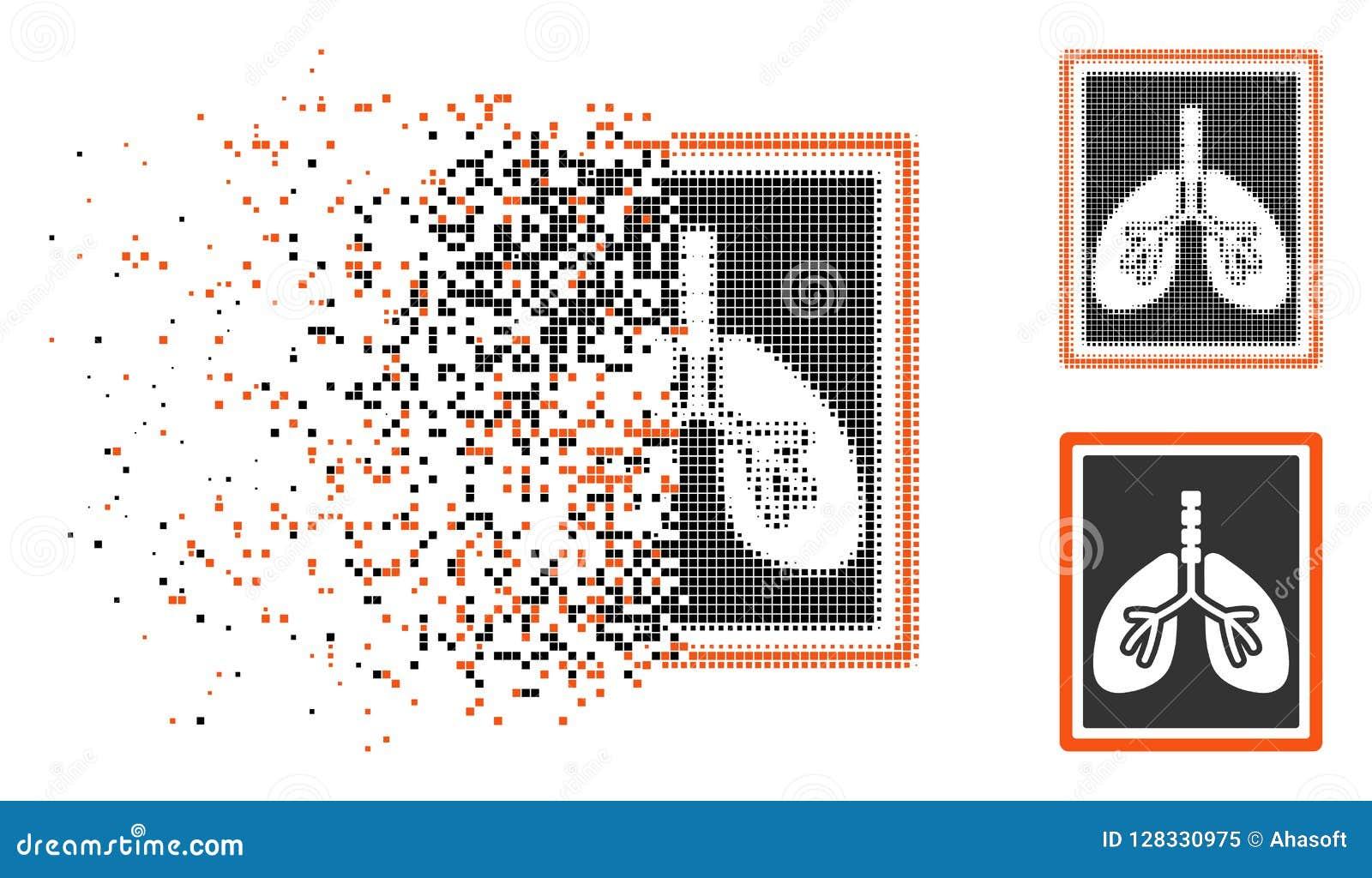 Icono de semitono destrozado de la foto de la radiografía de los pulmones de Pixelated