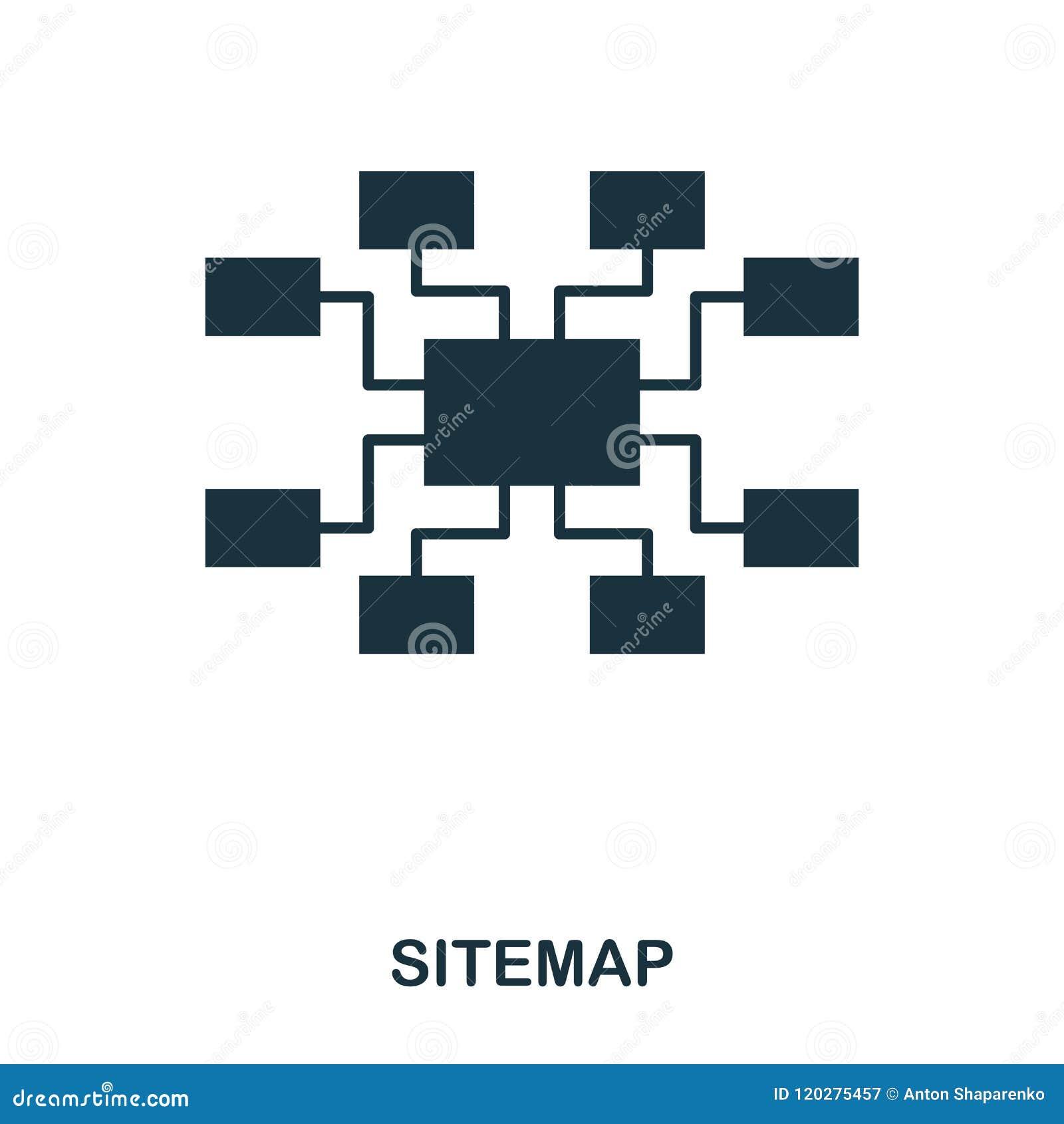 Icono de Sitemap Línea diseño del icono del estilo Ui Ejemplo del icono del sitemap pictograma aislado en blanco Listo para utili