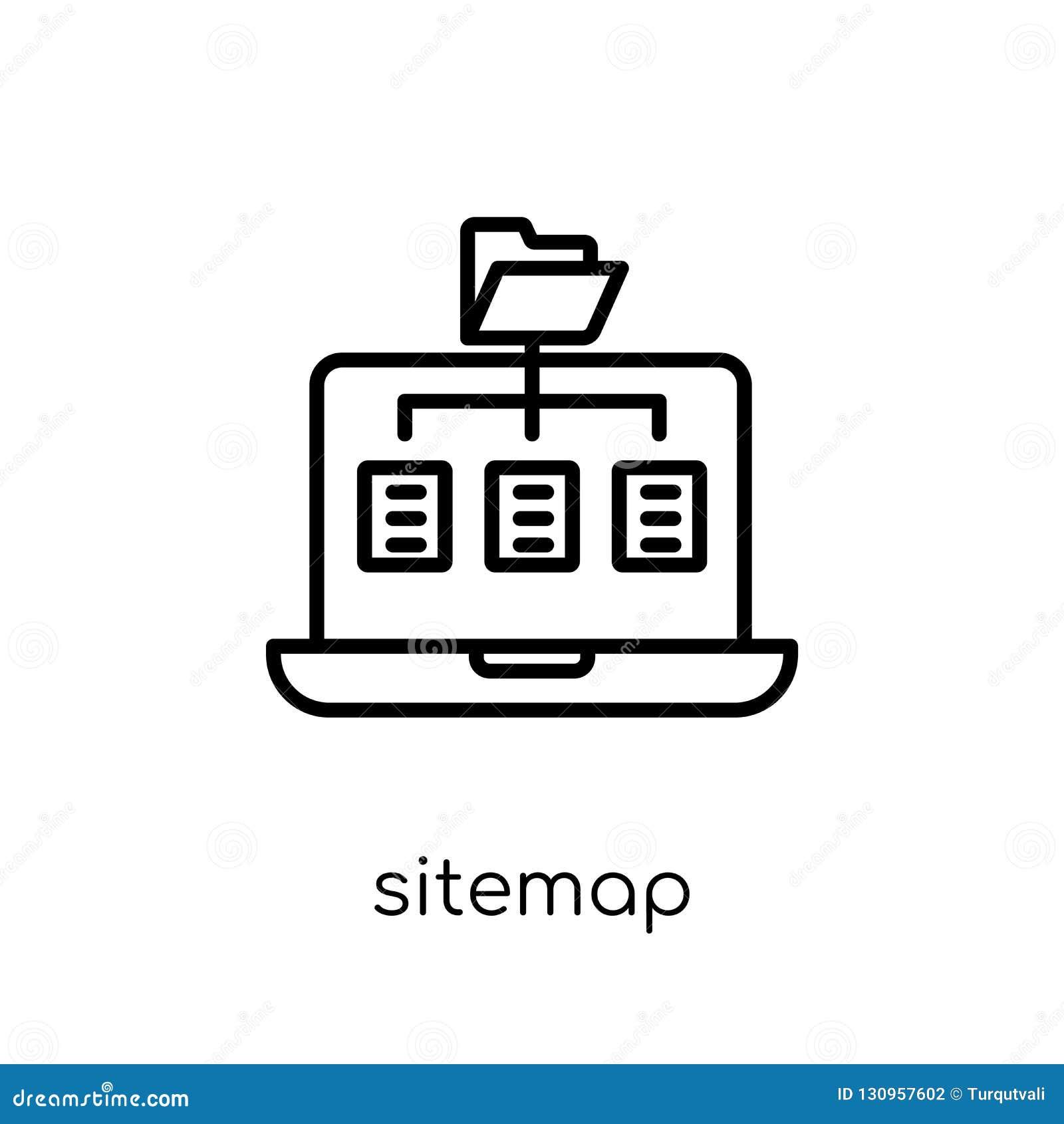 Icono de Sitemap Icono linear plano moderno de moda de Sitemap del vector en w