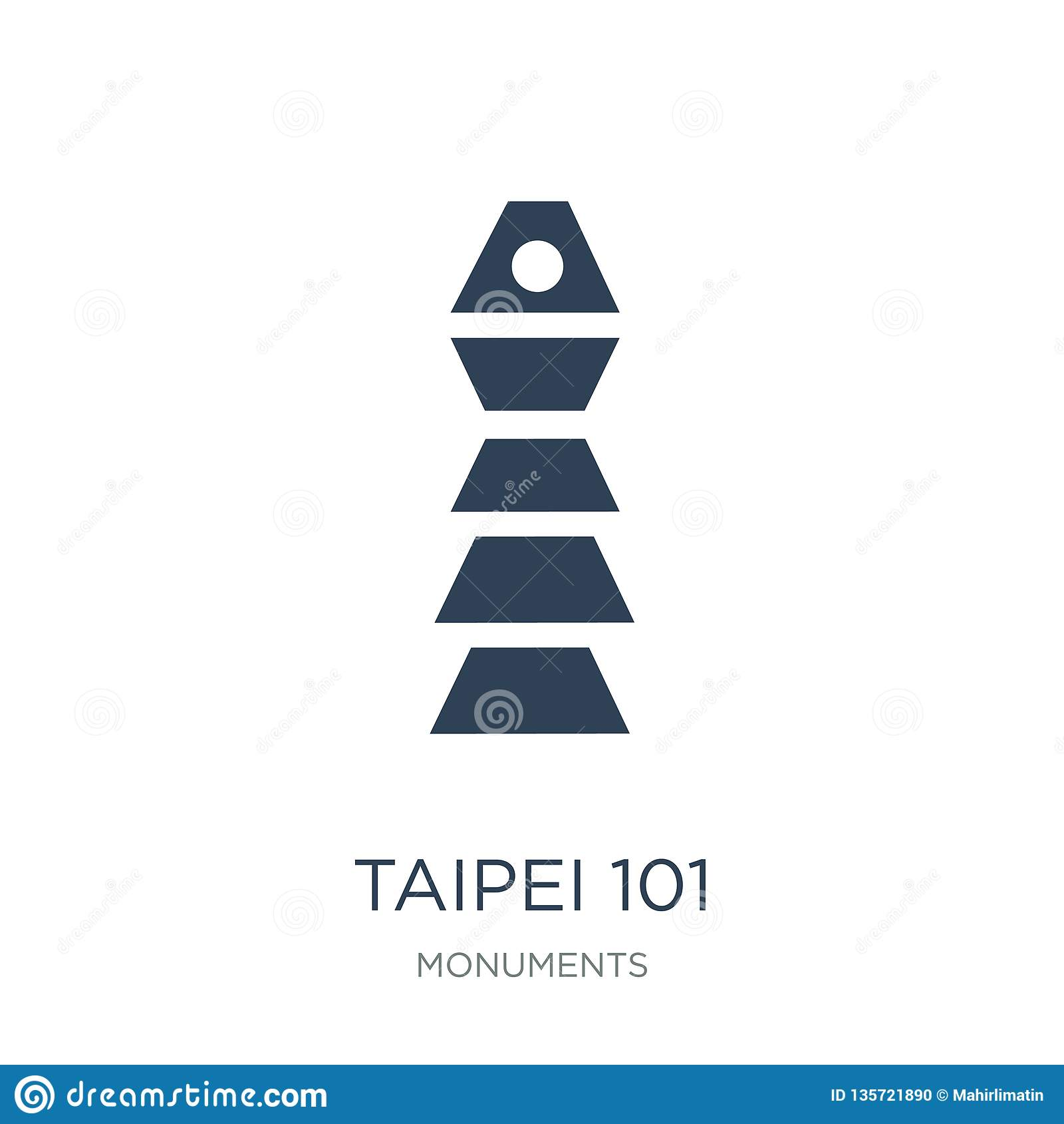Icono de Taipei 101 en estilo de moda del diseño el icono de Taipei 101 aisló en el fondo blanco icono del vector de Taipei 101 s