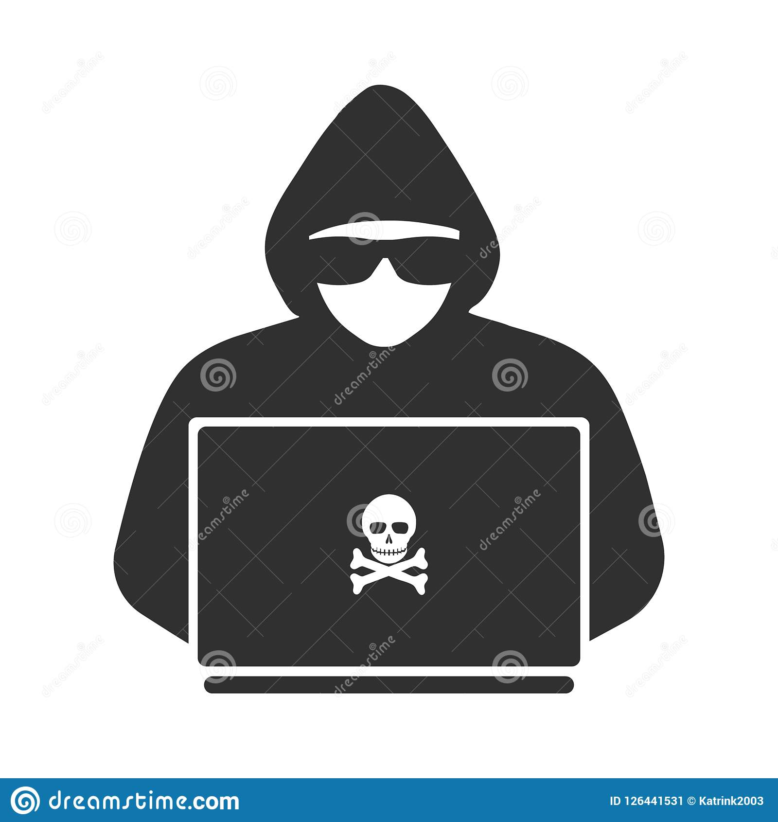 Icono de un pirata informático con un ordenador portátil