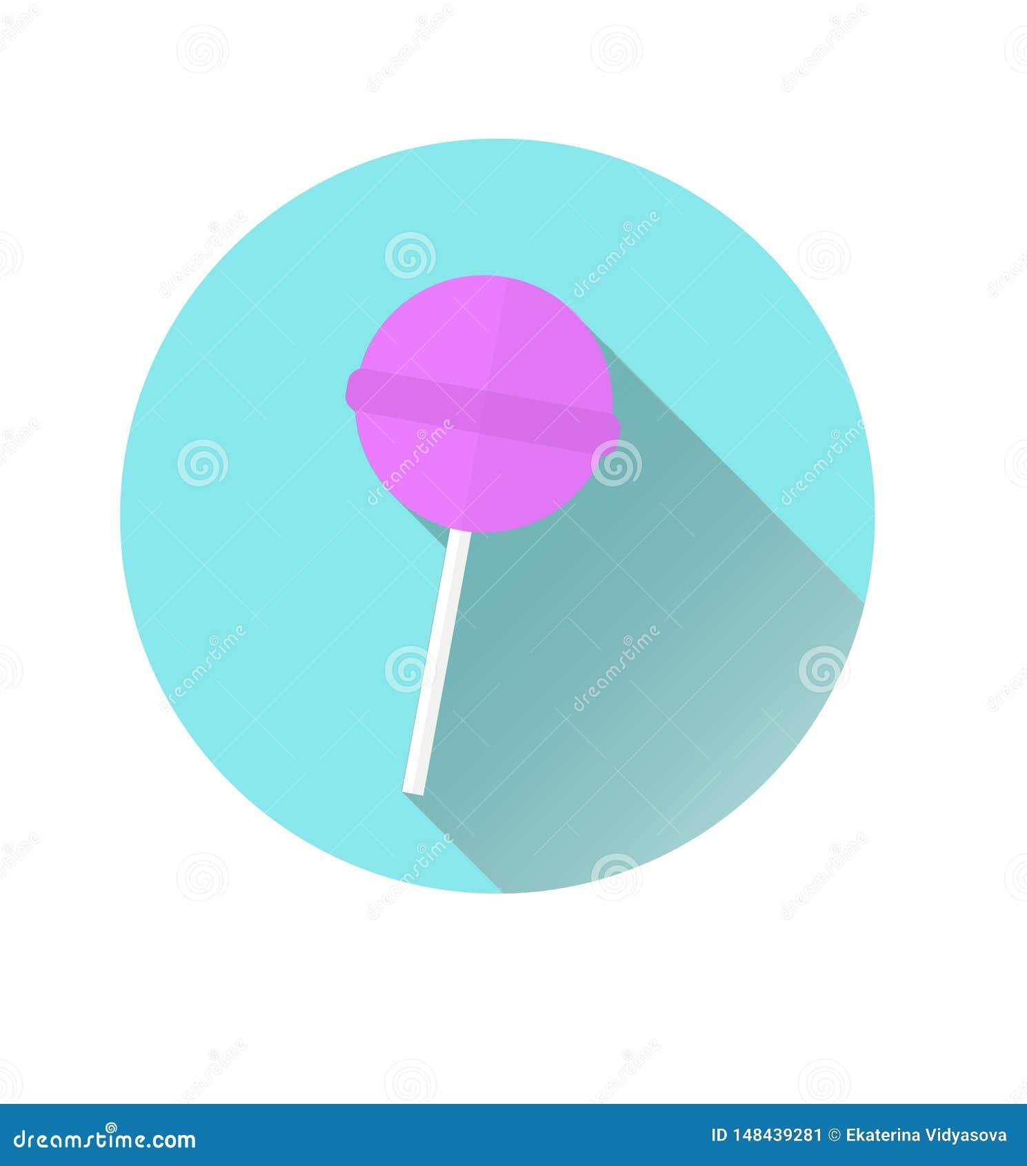 Icono de un icono rosado de Chupa Chups en un fondo azul del círculo Gr?ficos de vector