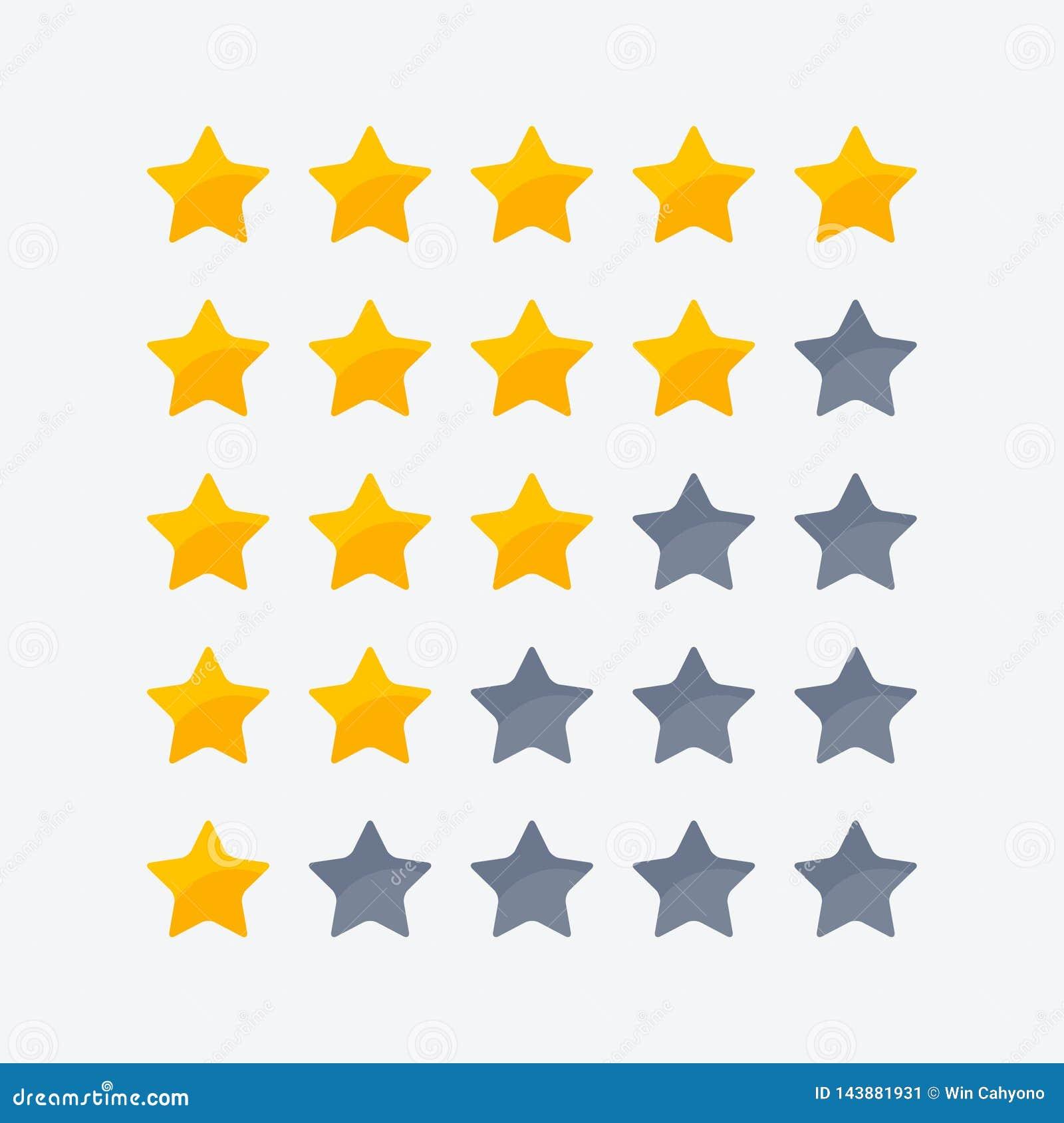 Icono de una a cinco estrellas