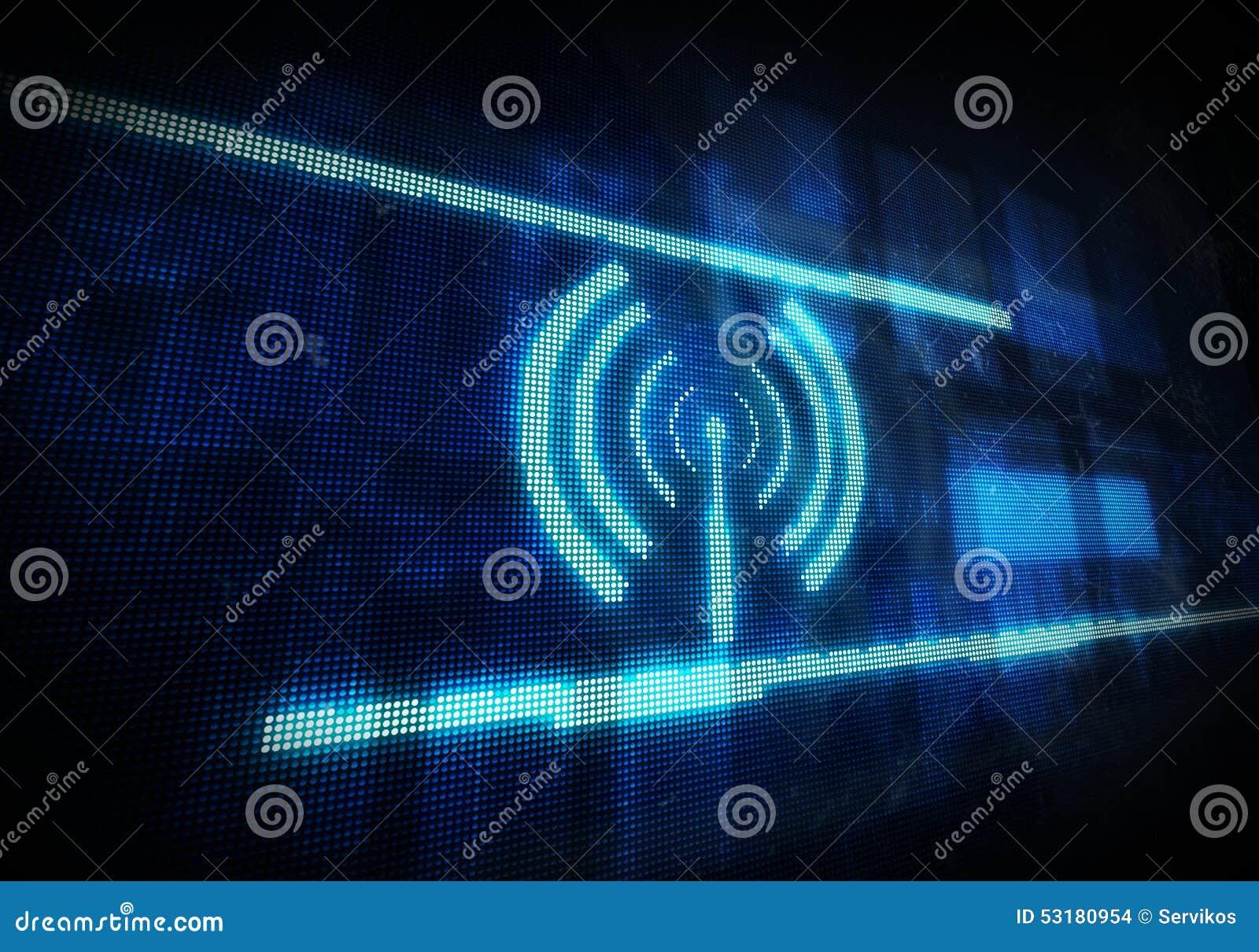 Icono De Wifi En Fondo Digital Azul Stock de ilustración ...