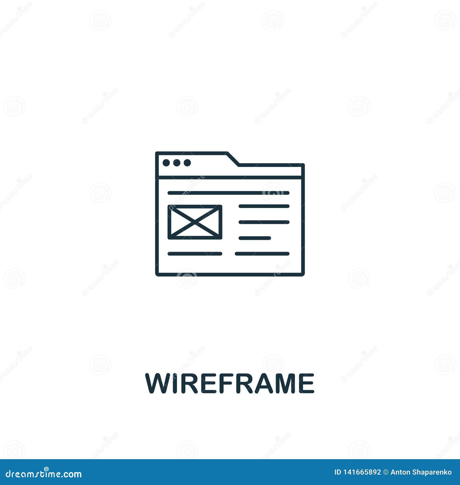 Icono de Wireframe Diseño fino del estilo del esquema del ui del diseño y de la colección de los iconos del ux Icono creativo de