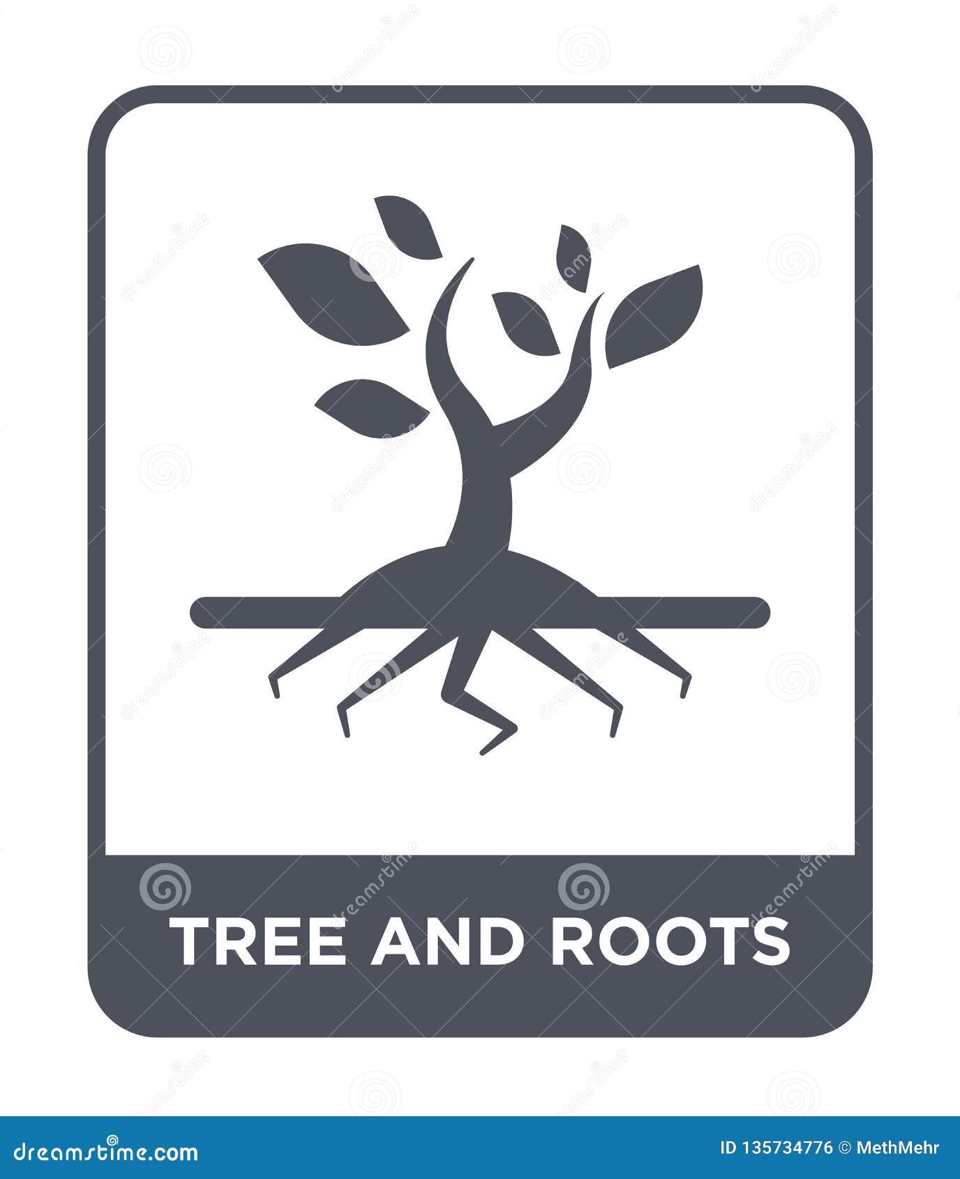 Icono del árbol y de las raíces en estilo de moda del diseño icono del árbol y de las raíces aislado en el fondo blanco icono del