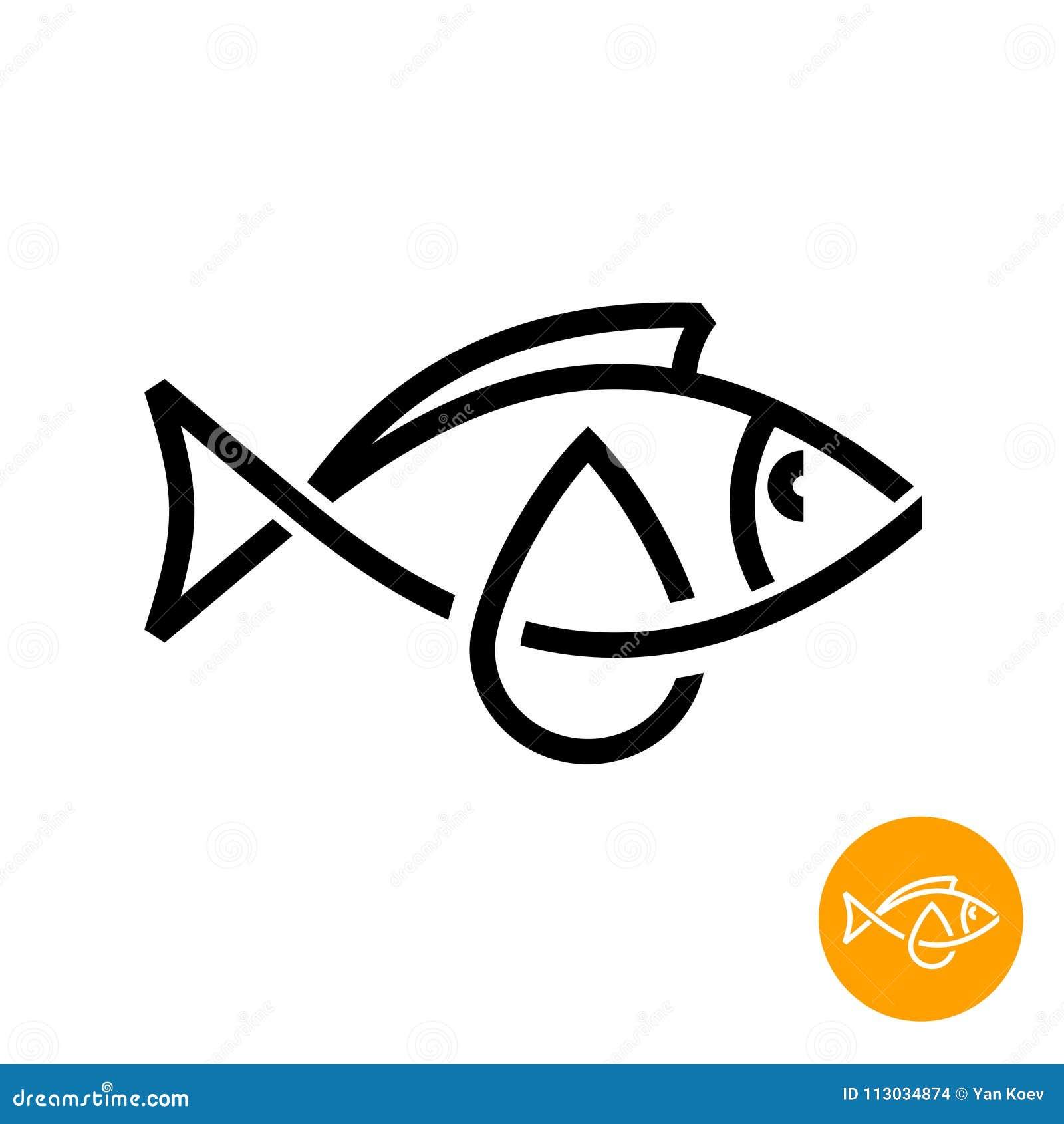 Icono del aceite de pescado Línea negra muestra del aceite de hígado de bacalao del estilo